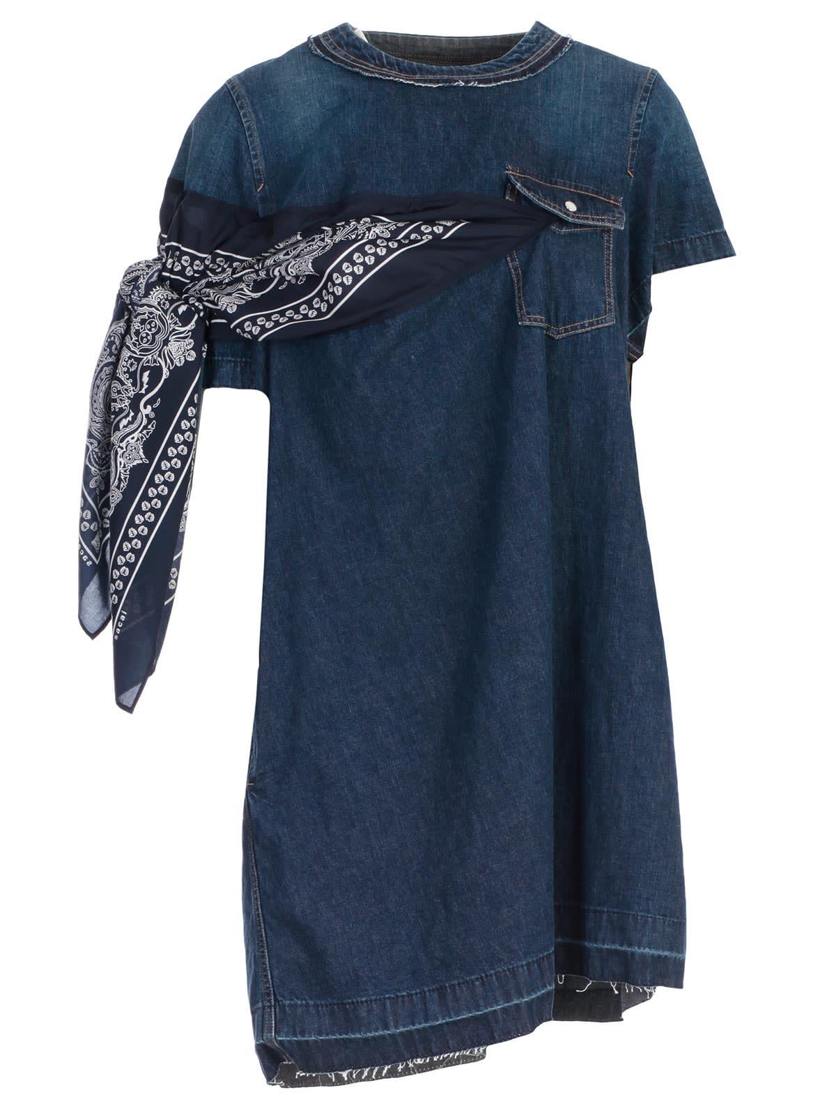 Sacai Denim Scarf Detail Dress