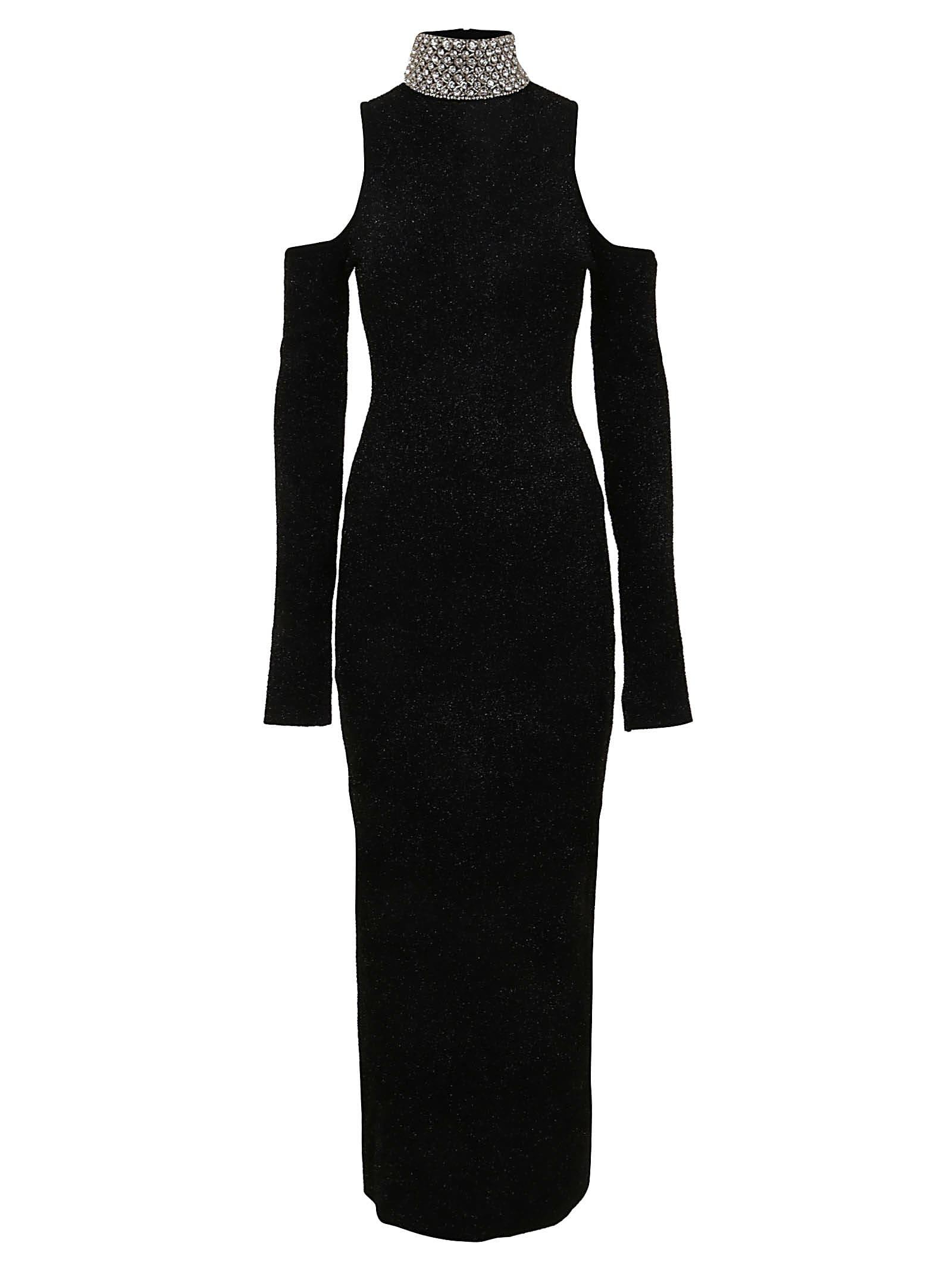 Balmain Cold-shoulder Striped Midi Dress