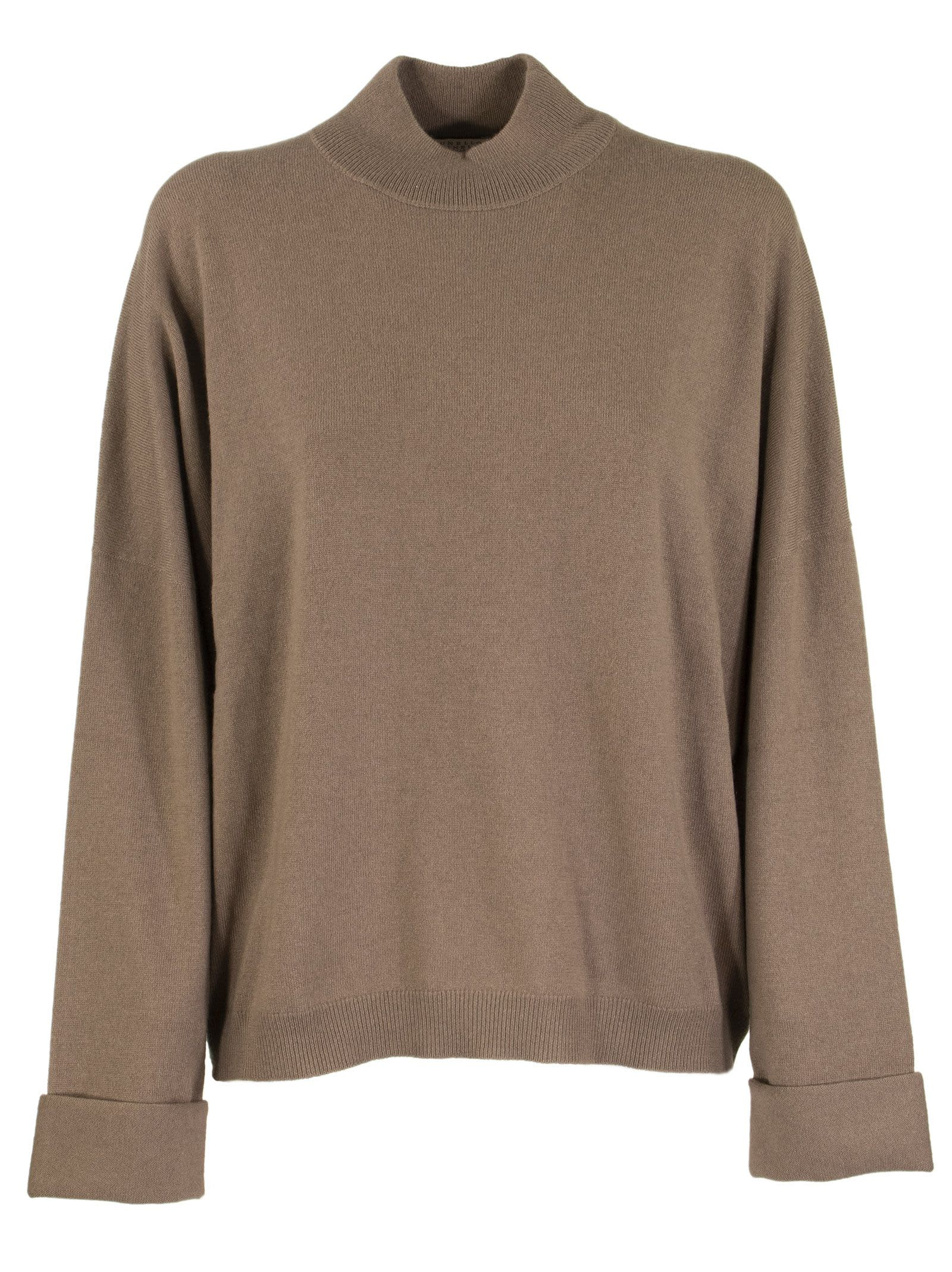 Brunello Cucinelli HIGH NECK SWEATER CASHMERE MOCK NECK SWEATER WITH MONILI