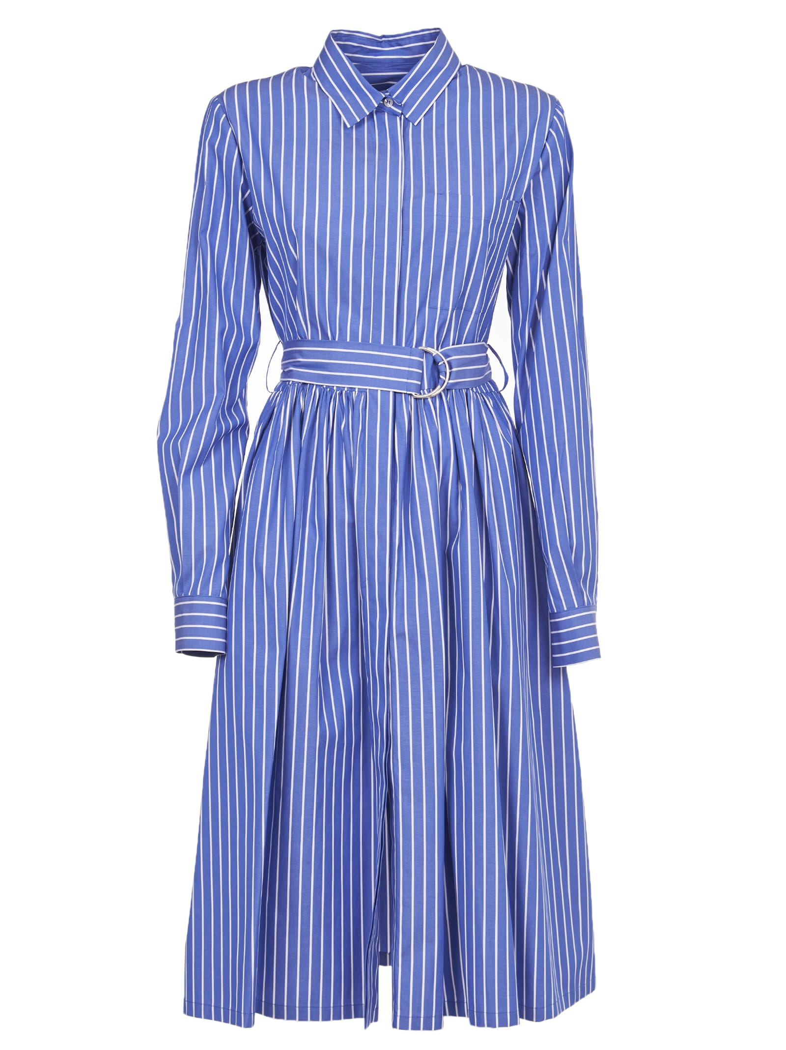 Buy MSGM Blue And White Stripe Dress online, shop MSGM with free shipping