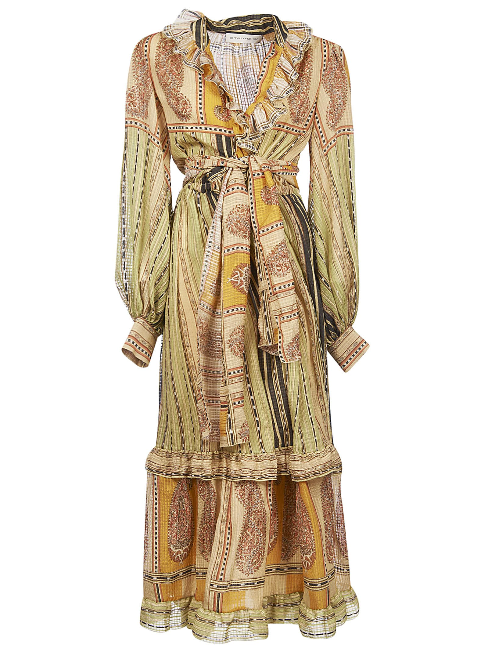 Buy Etro Ruffled Detail Long Belted Waist Dress online, shop Etro with free shipping