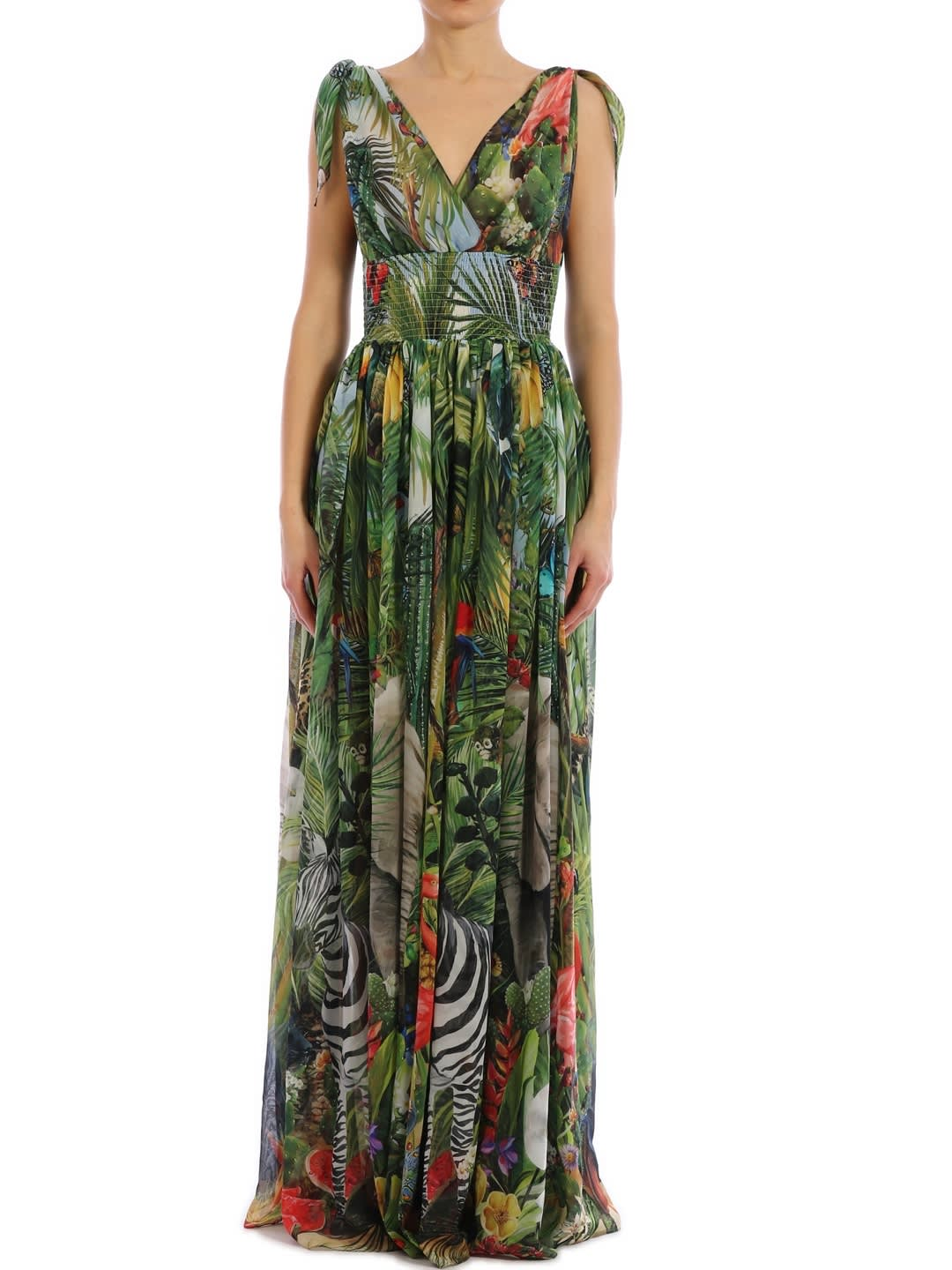 Buy Dolce & Gabbana Maxi Dress Jungle Print online, shop Dolce & Gabbana with free shipping