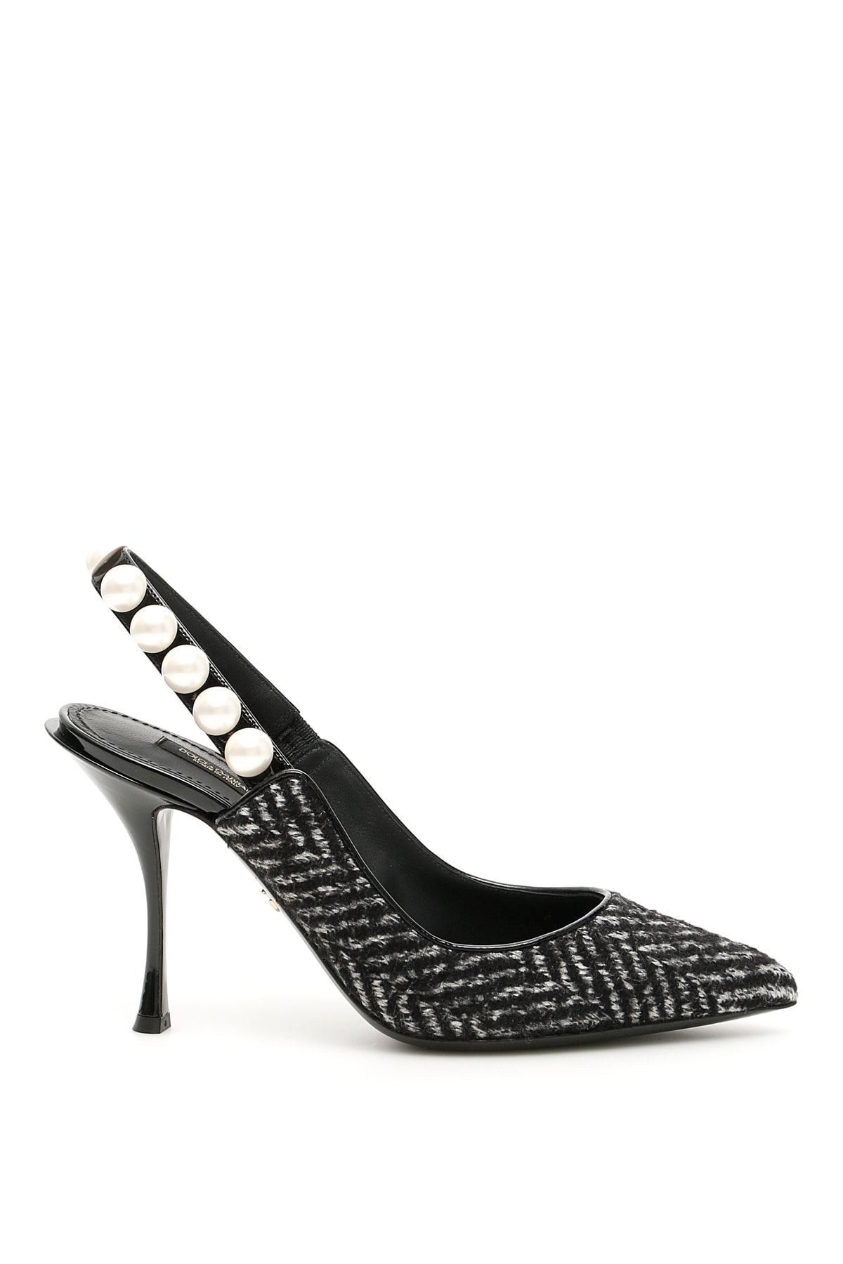 Dolce & Gabbana Lori Chevron Slingbacks With Pearls