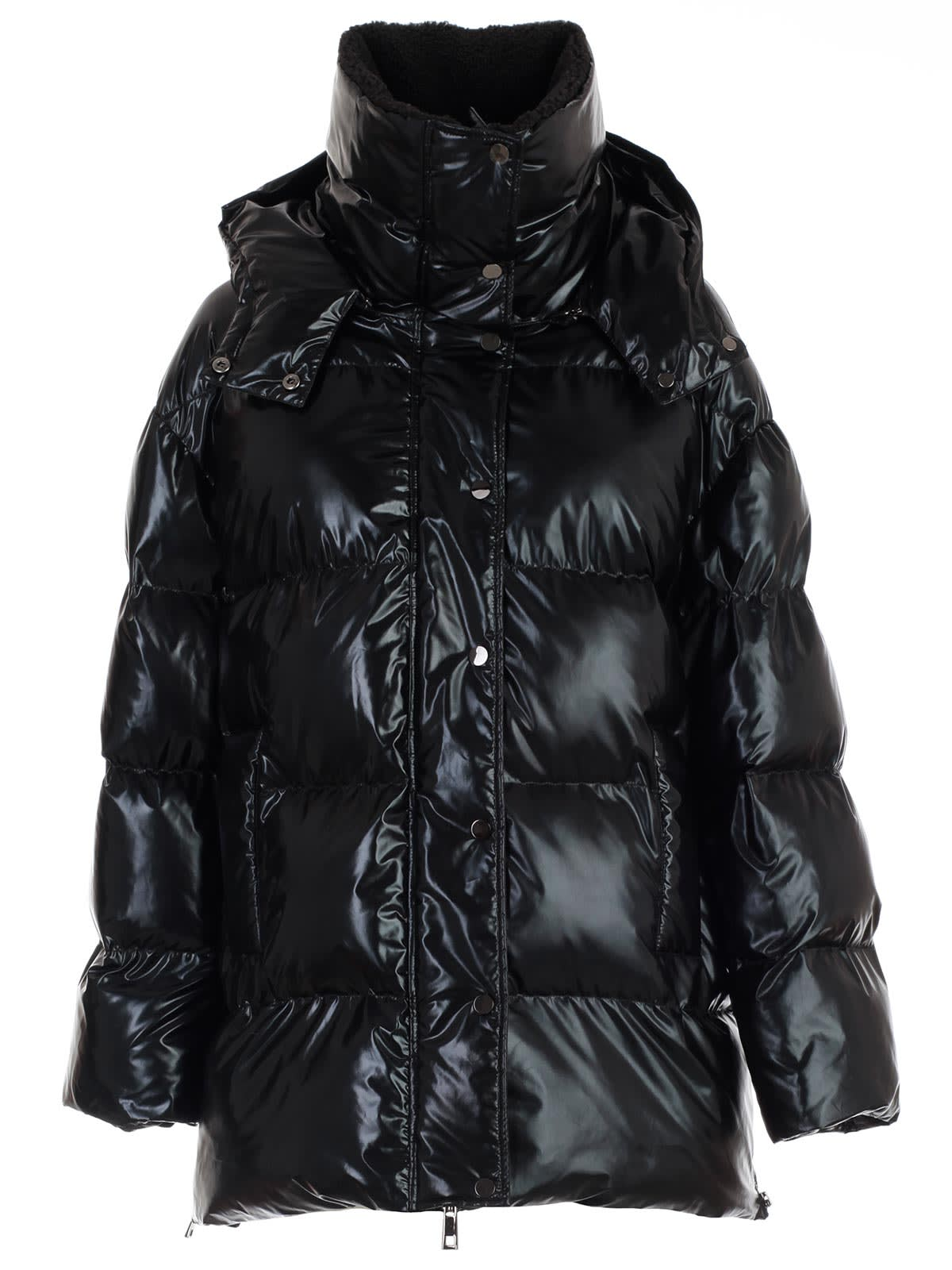 Parosh Padded Jacket Short W/hood Fuax Fur