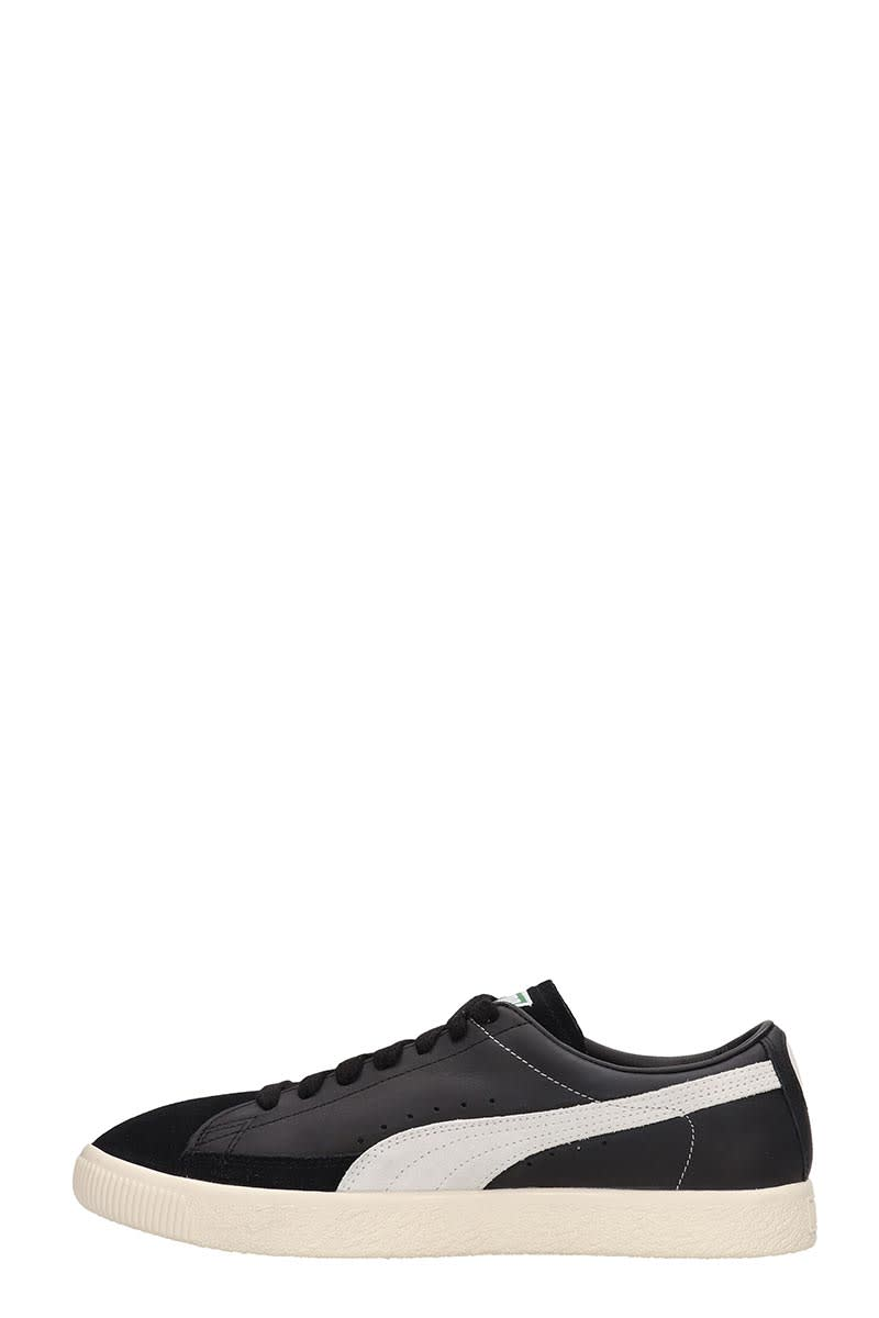 new styles 0c017 9ee00 Puma Basket 90680 Black Leather And Suede Sneakers