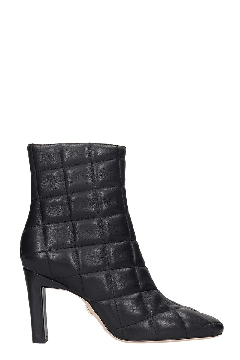 Lola Cruz High Heels Ankle Boots In Black Leather
