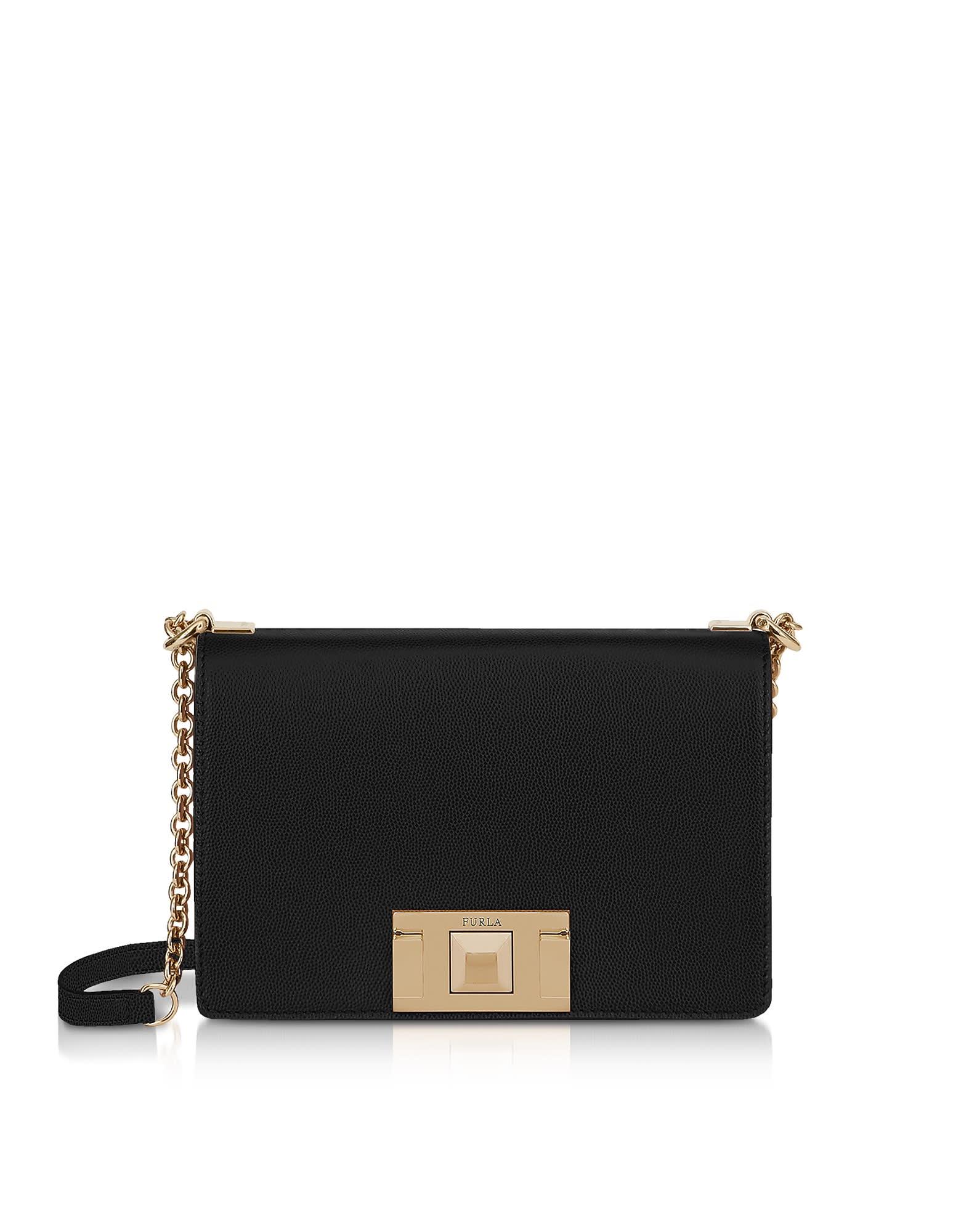 Furla Black Leather Mimì Mini Crossbody Bag