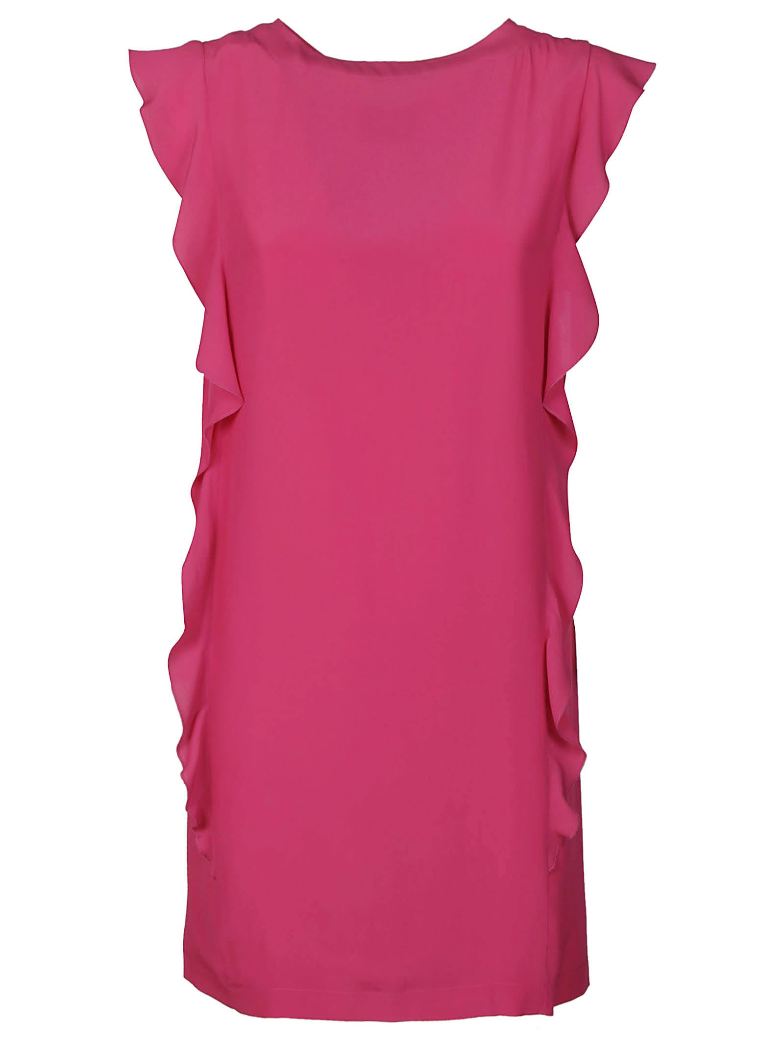 Buy Dondup Side Ruffled Round Neck Mid-length Dress online, shop Dondup with free shipping