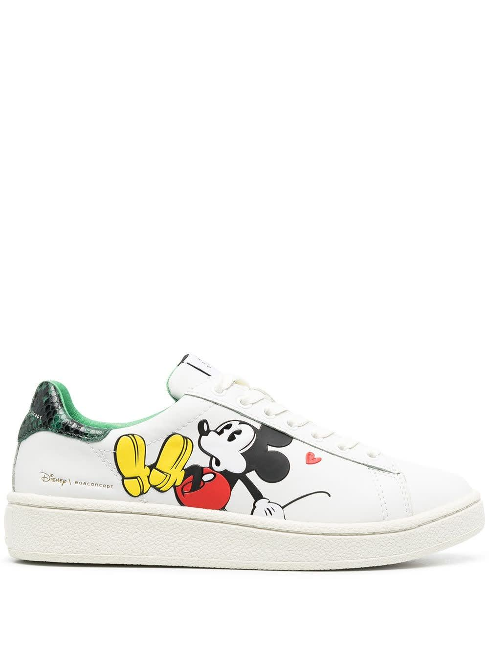 Moa Master Of Arts Leathers LEATHER SNEAKERS WITH MICKEY MOUSE PRINT