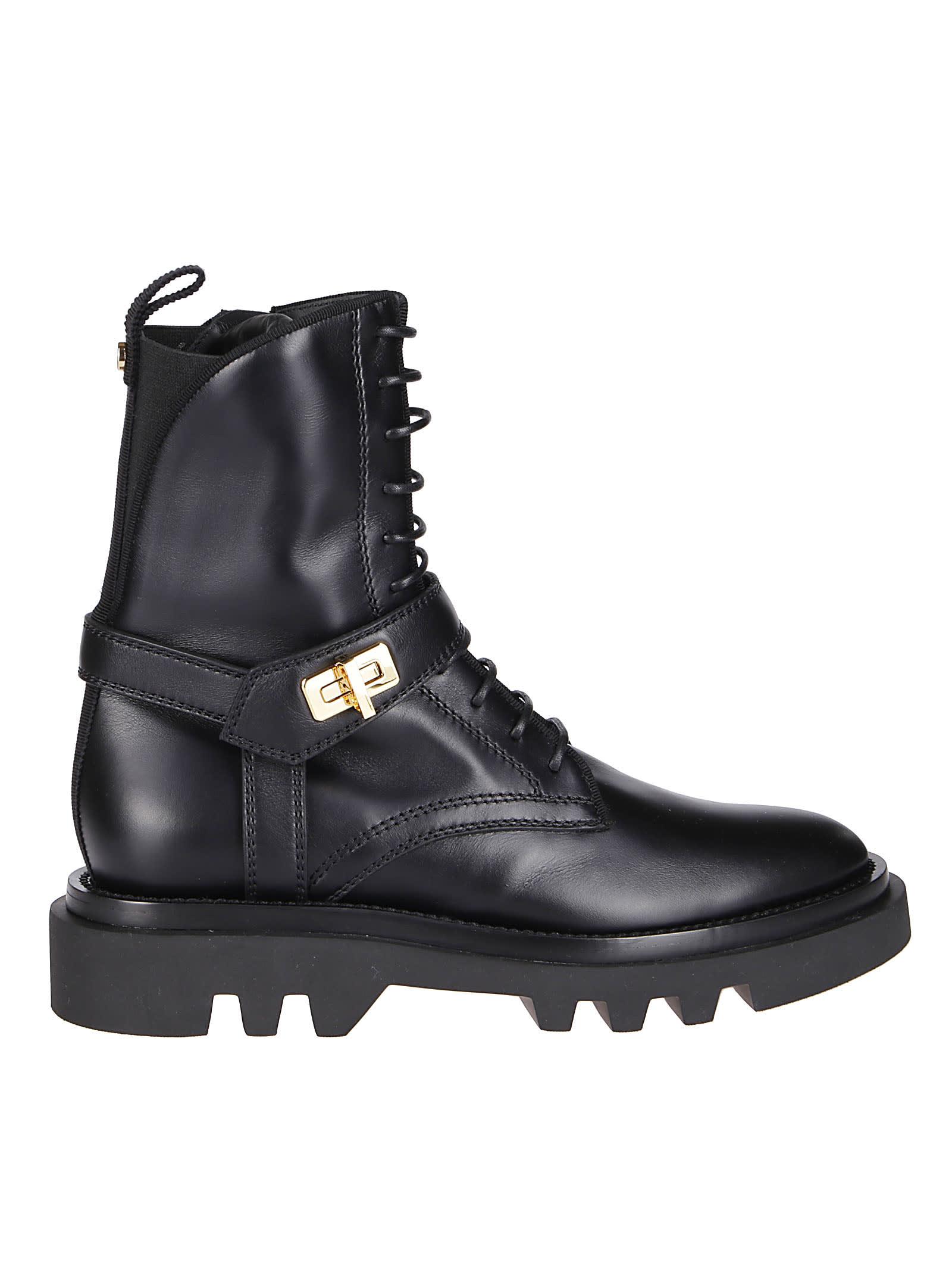 Givenchy BLACK LEATHER EDEN RANGER BOOTS