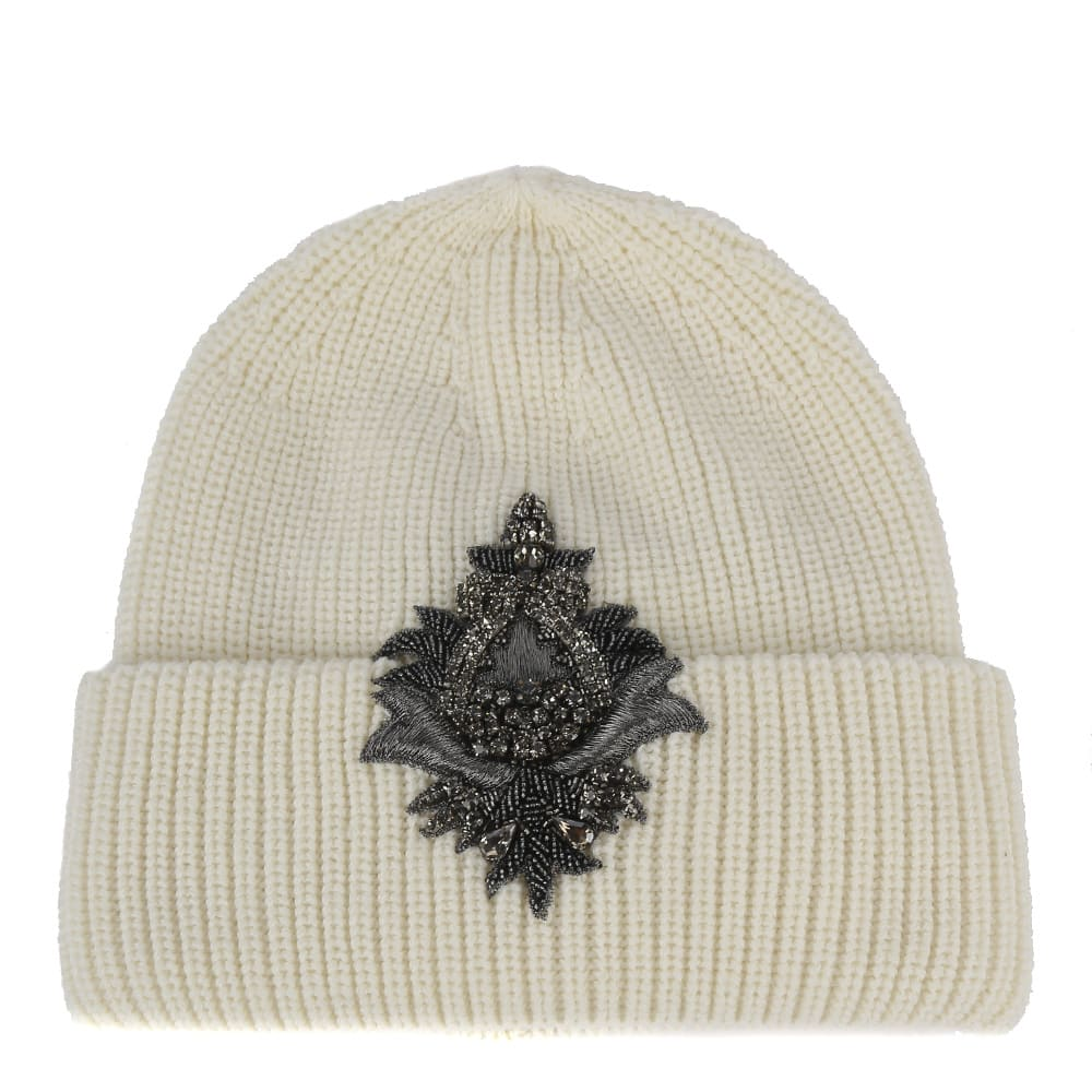 Dondup EMBELLISHED WOOL BEANIE HAT