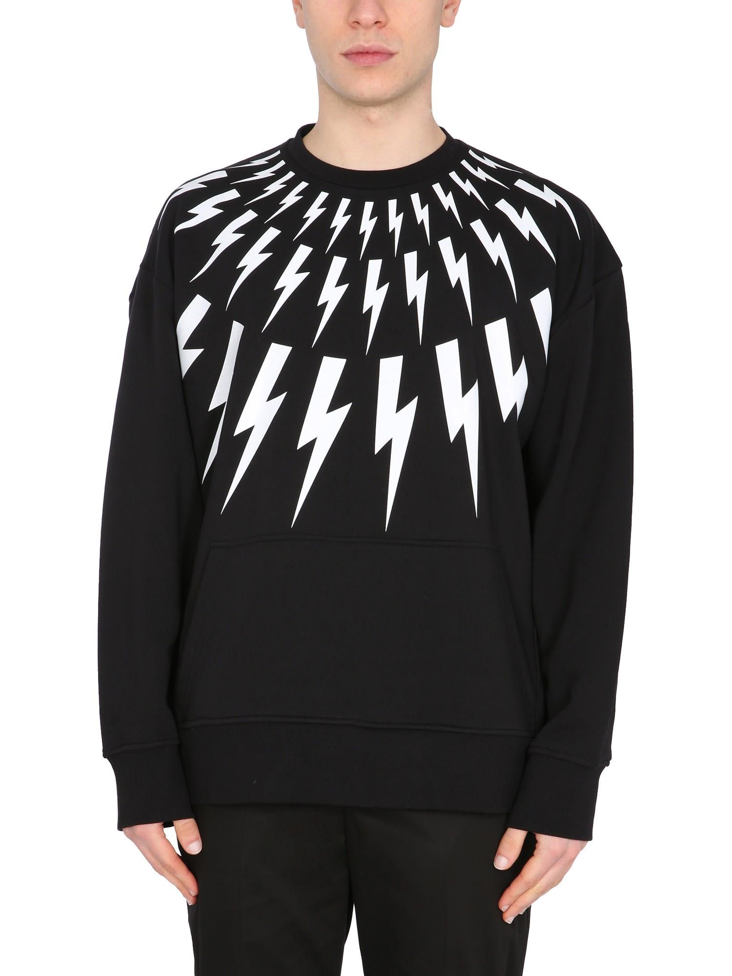 Neil Barrett Sweatshirts FAIR ISLE THUNDERBOLT SWEATSHIRT