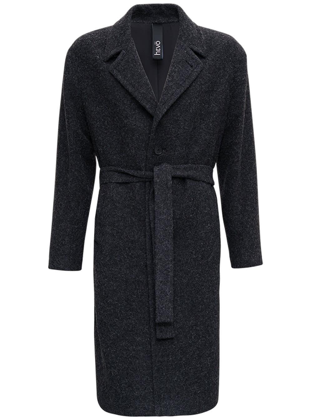 Ostuni Single-breasted Coat In Alpaca Blend With Belt