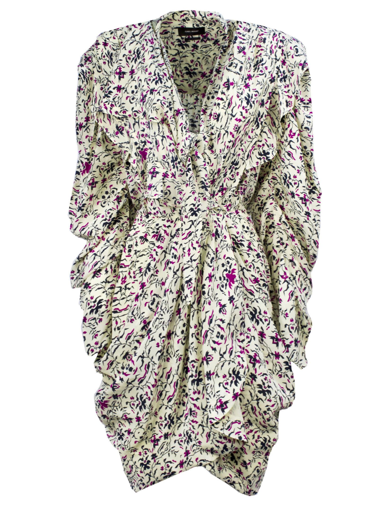 Buy Isabel Marant Ecru Ruffled Dress online, shop Isabel Marant with free shipping