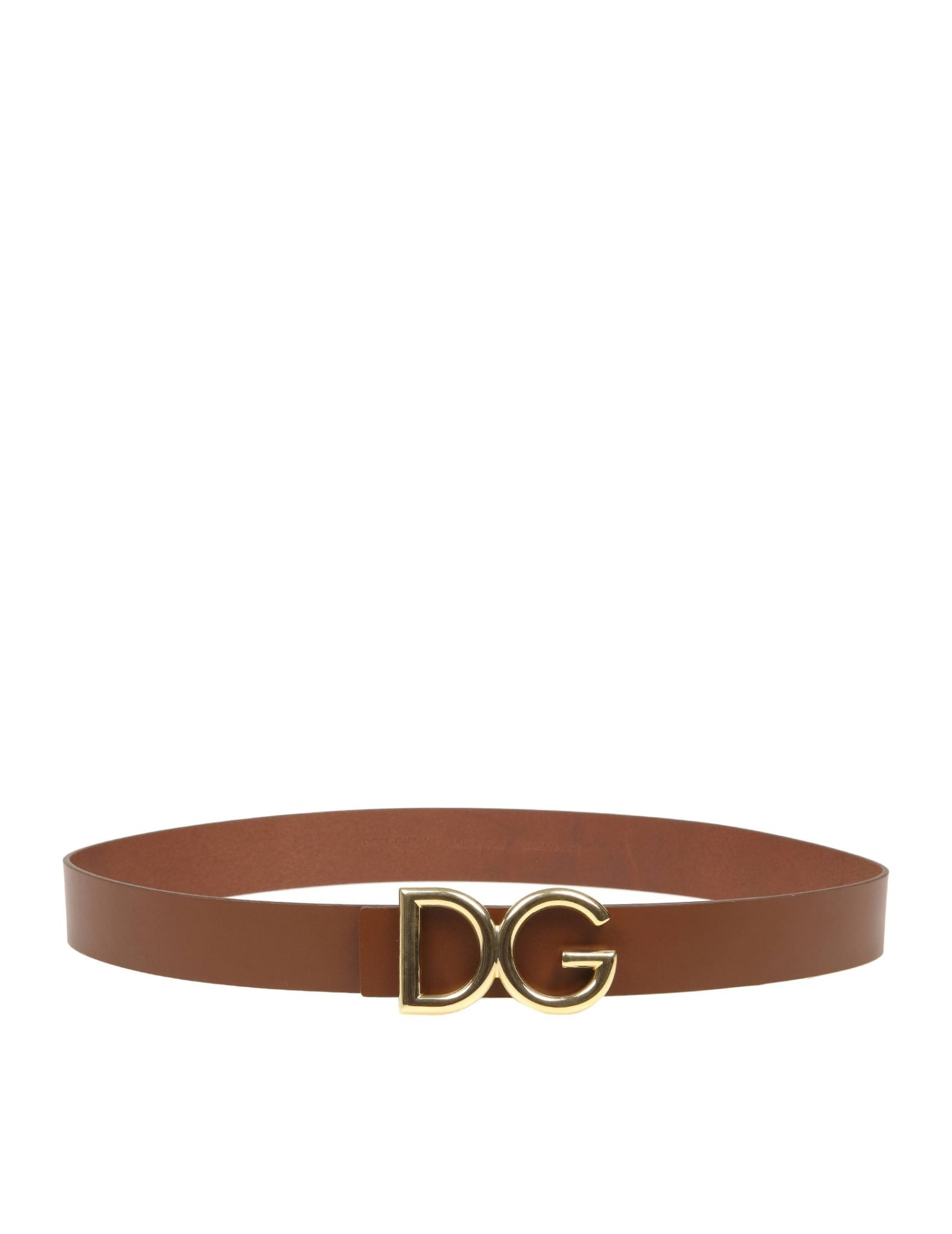 Dolce & Gabbana Calf Belt With Dg Metal Logo In Leather