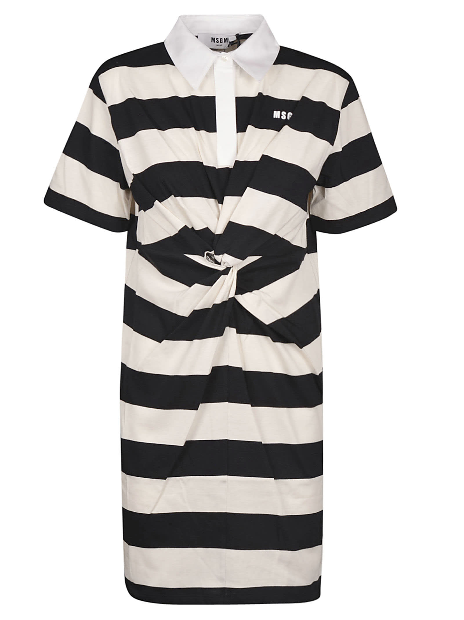 Buy MSGM Stripe Gathered Dress online, shop MSGM with free shipping