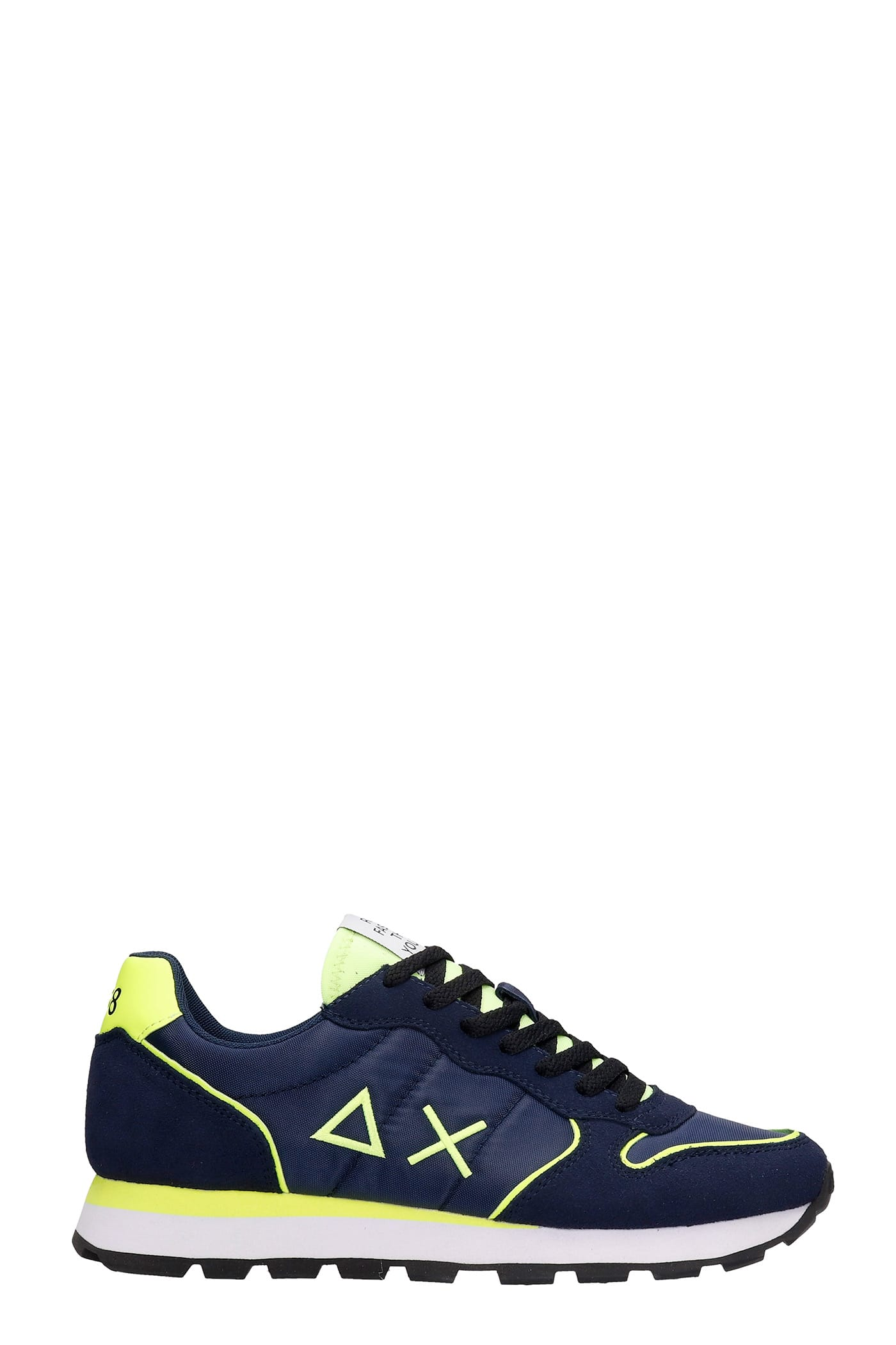 Sun 68 TOM FLUO SNEAKERS IN BLUE SUEDE AND FABRIC