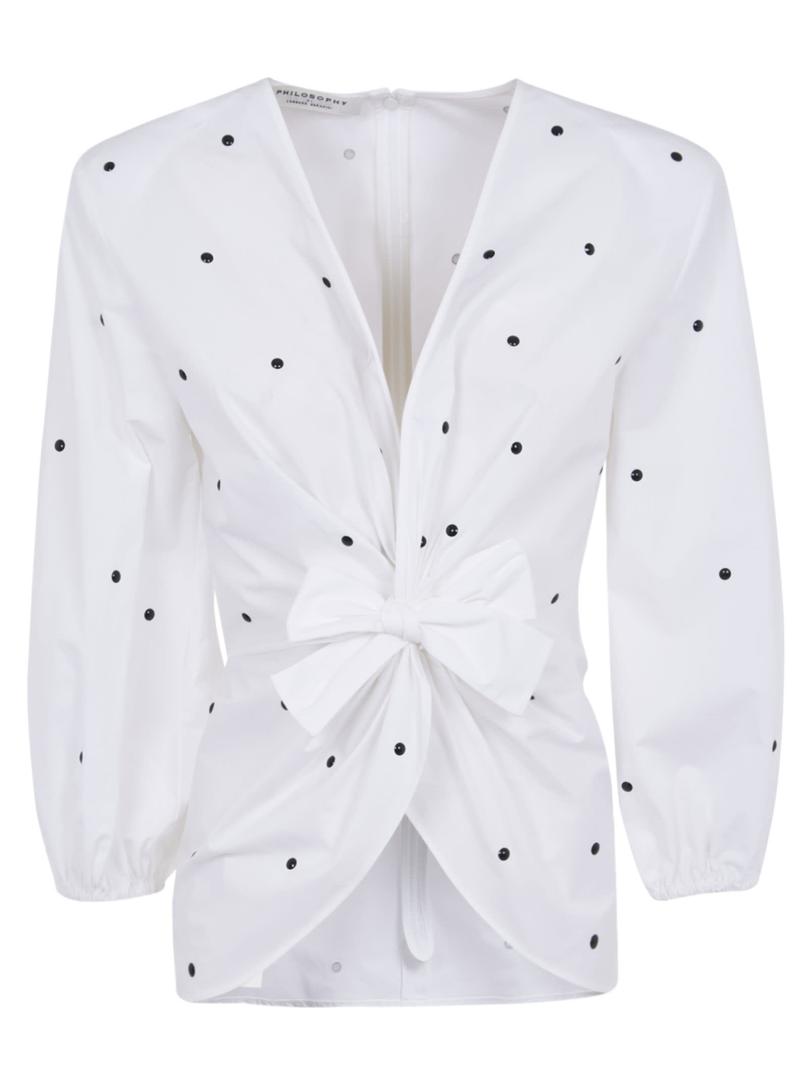 PHILOSOPHY DI LORENZO SERAFINI Cottons DOTTED PRINT BOW TWIST DETAIL SHIRT