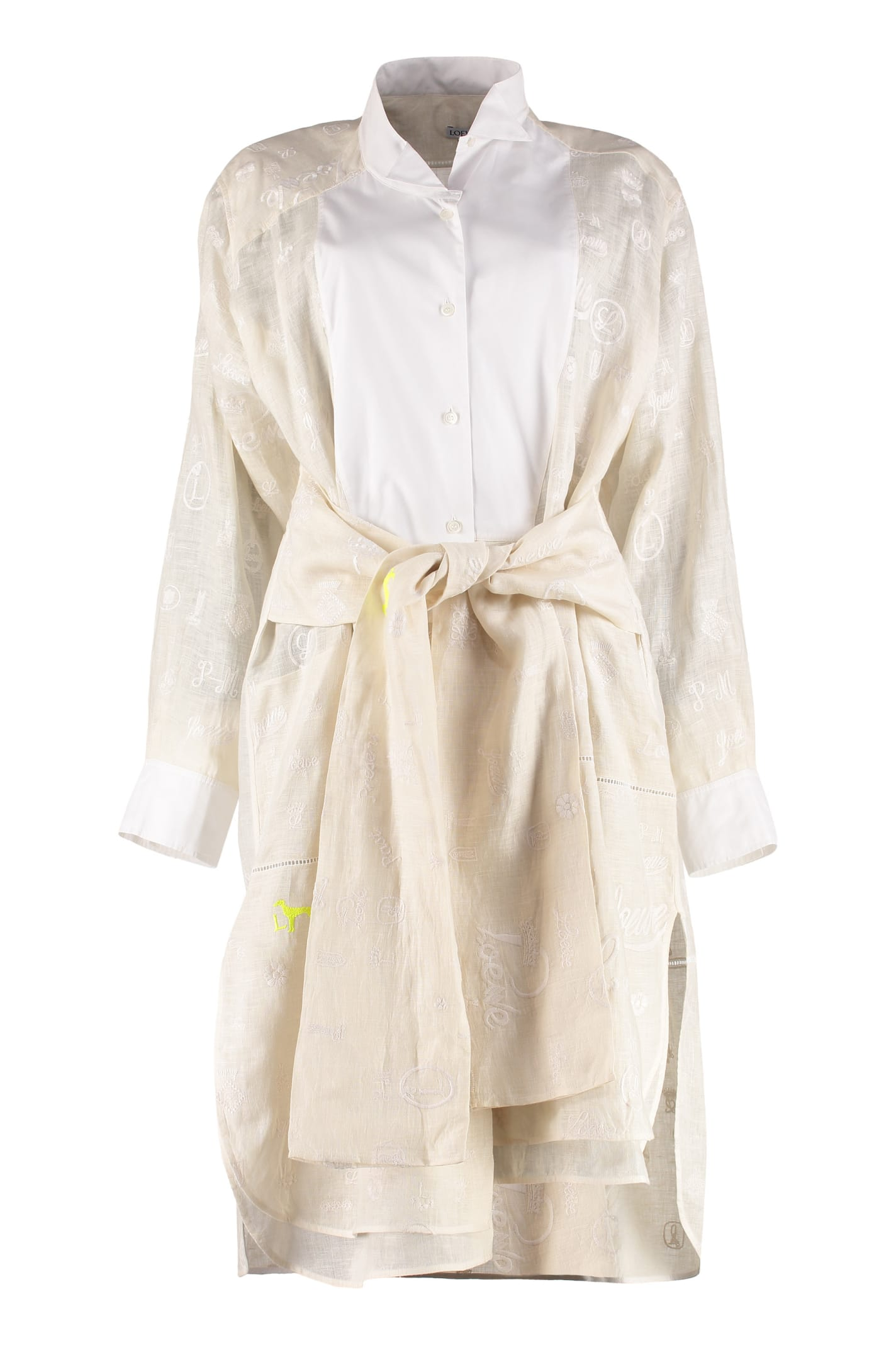 Photo of  Loewe Embroidered Linen Shirtdress- shop Loewe  online sales