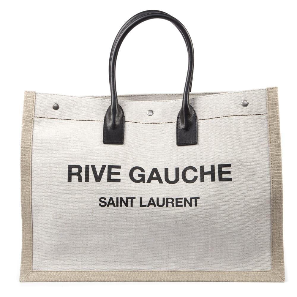 0152478e832 Saint Laurent Saint Laurent Rive Gauche Canvas Tote Bag - White ...