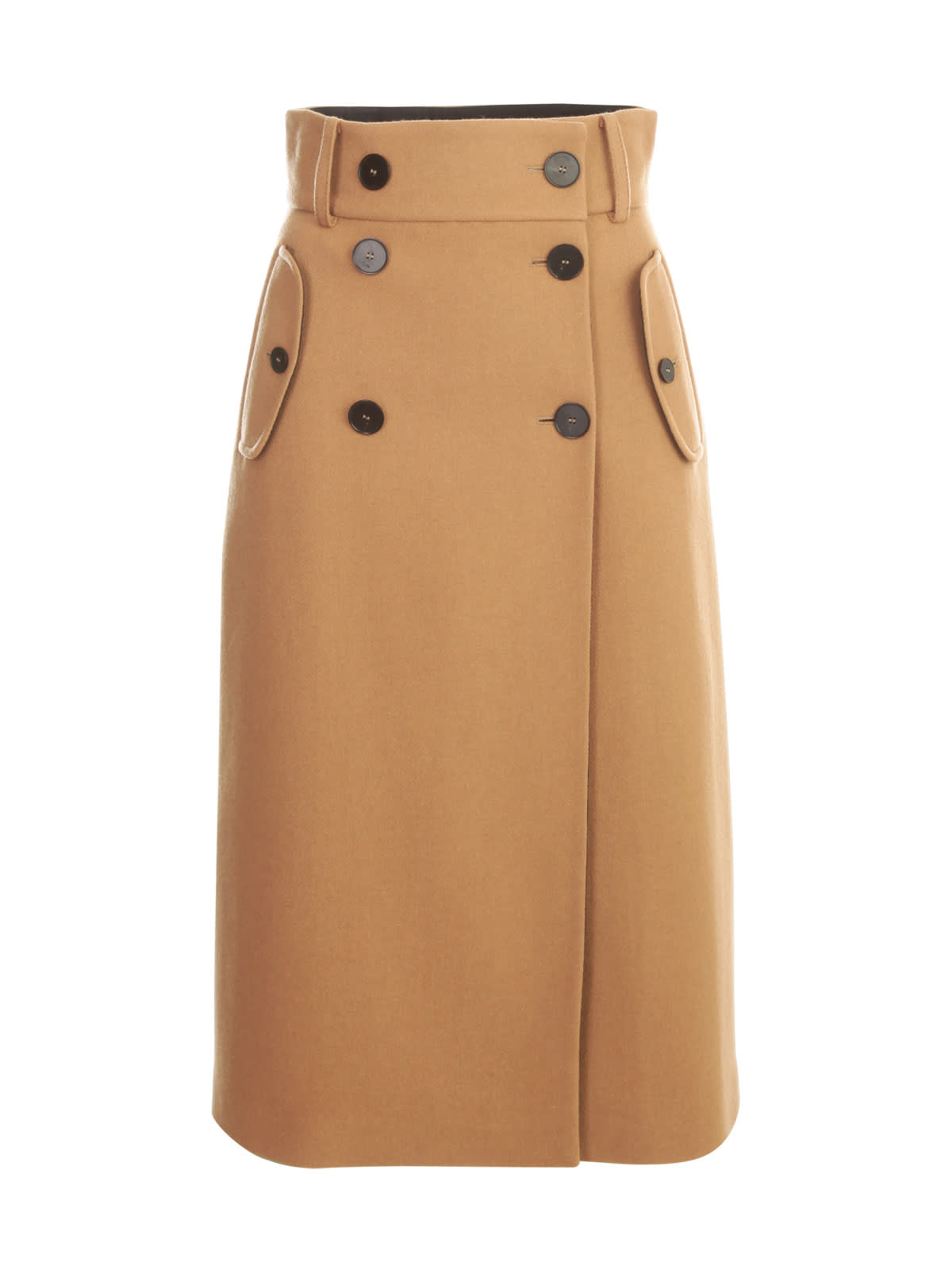 Long Straight Skirt W/double Buttons