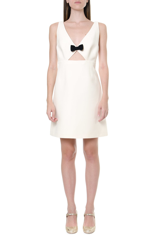 Miu Miu Crepe & Wool Ivory Short Dress