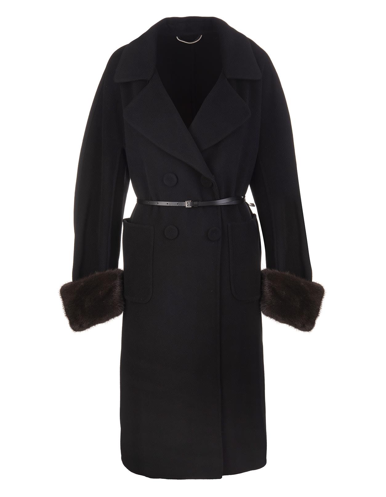Long Black Coat In Wool And Mink