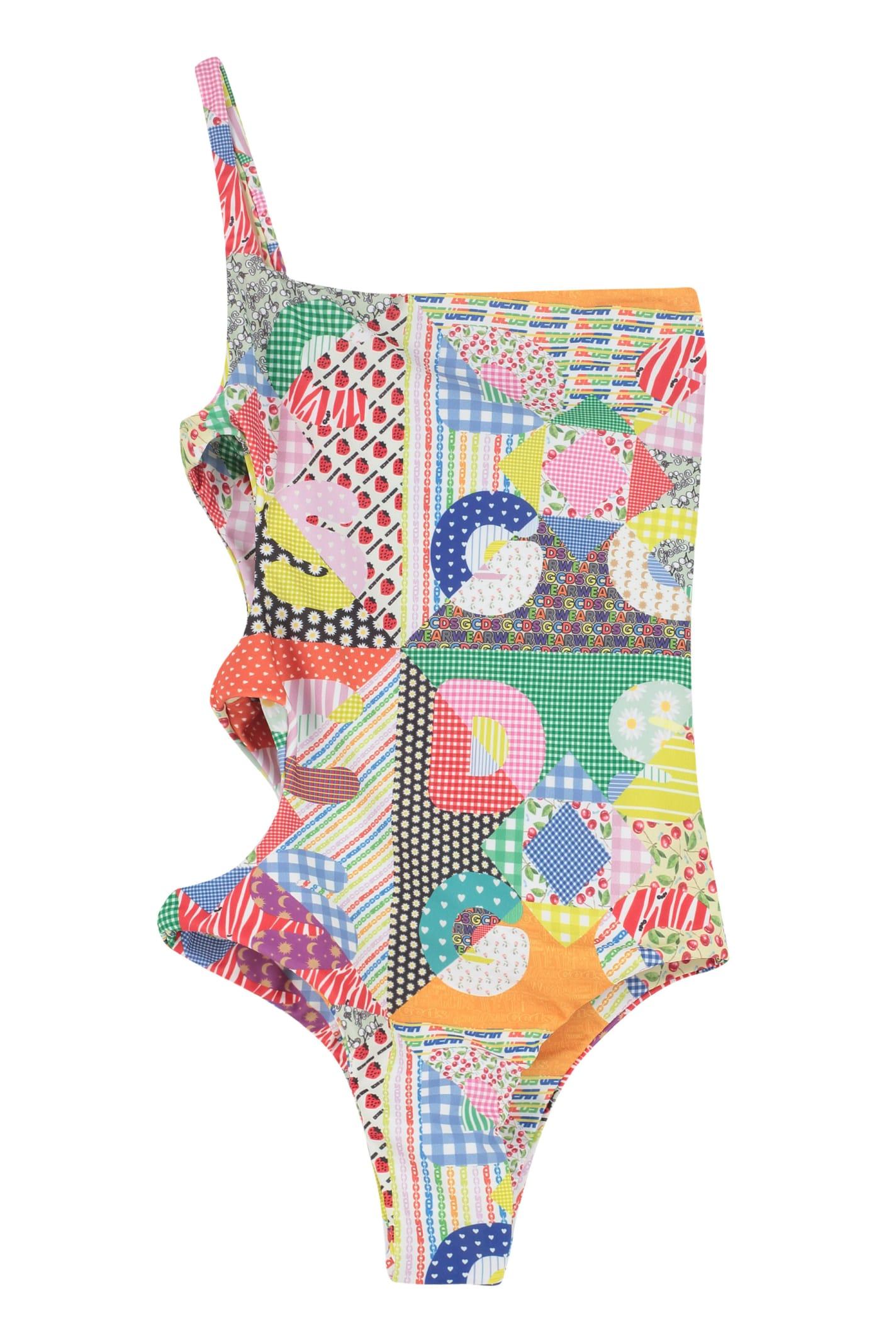 Gcds One-shoulder Swimsuit In Multicolor