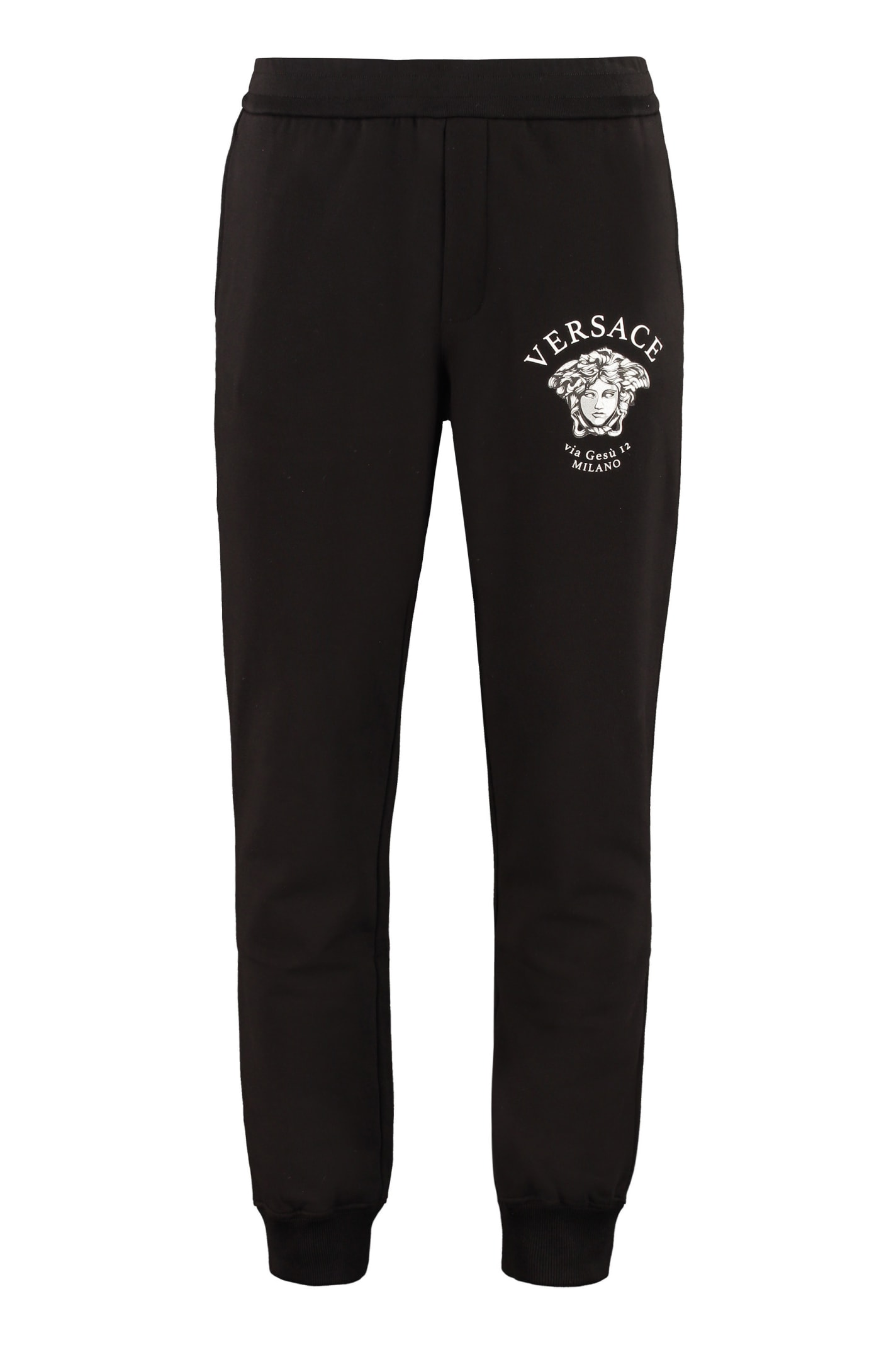 Versace Cotton Track-pants In Black