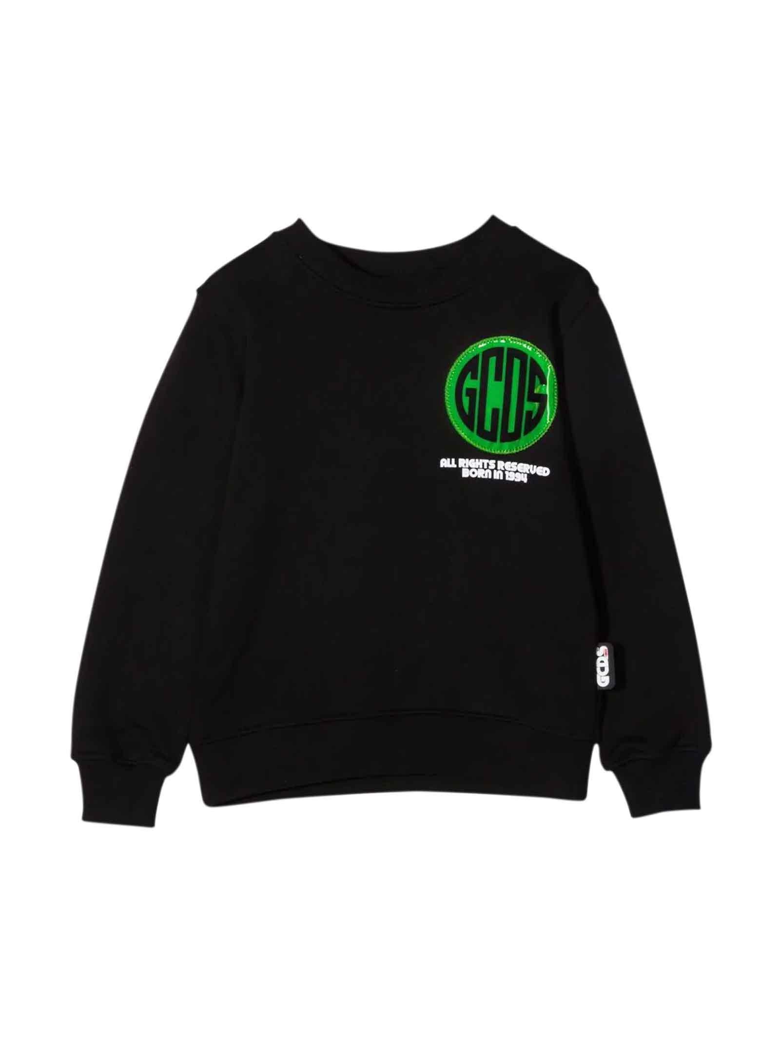Black Sweatshirt With Multicolor Print