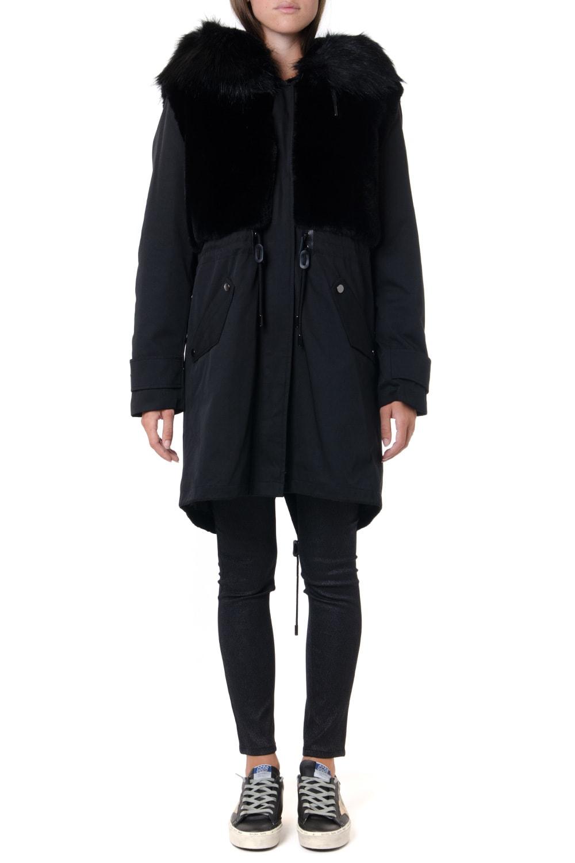 Dondup Black Faux Fur & Technical Fabric Parka Jacket