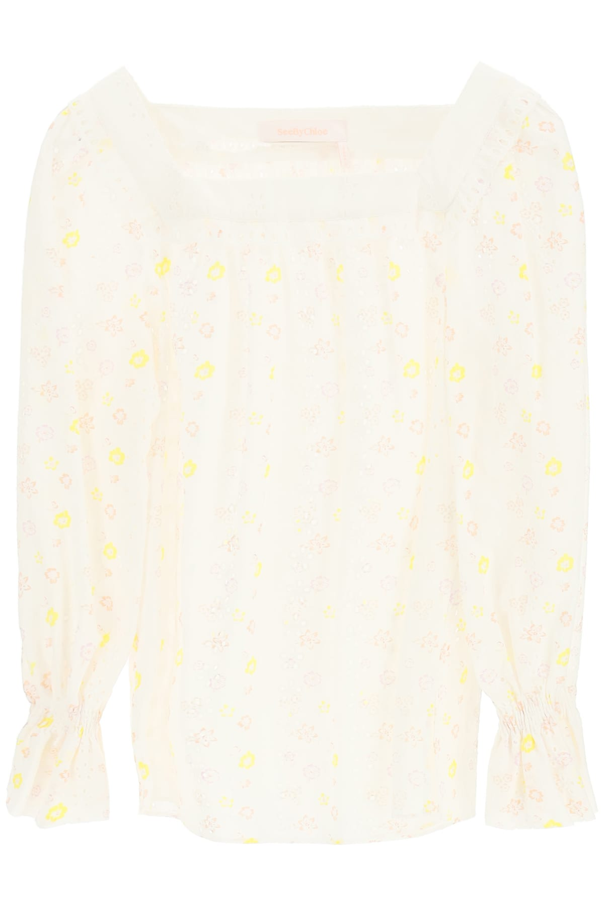 See By Chloé EMBROIDERED COTTON VOILE BLOUSE