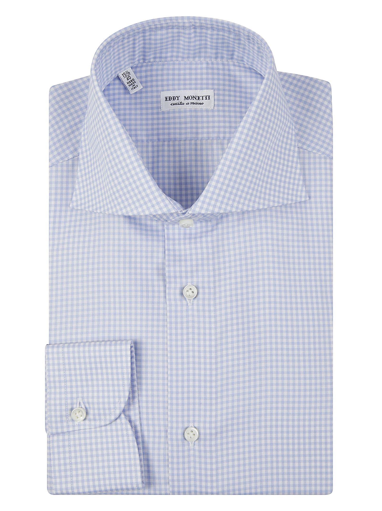French Collar Square Check Shirt