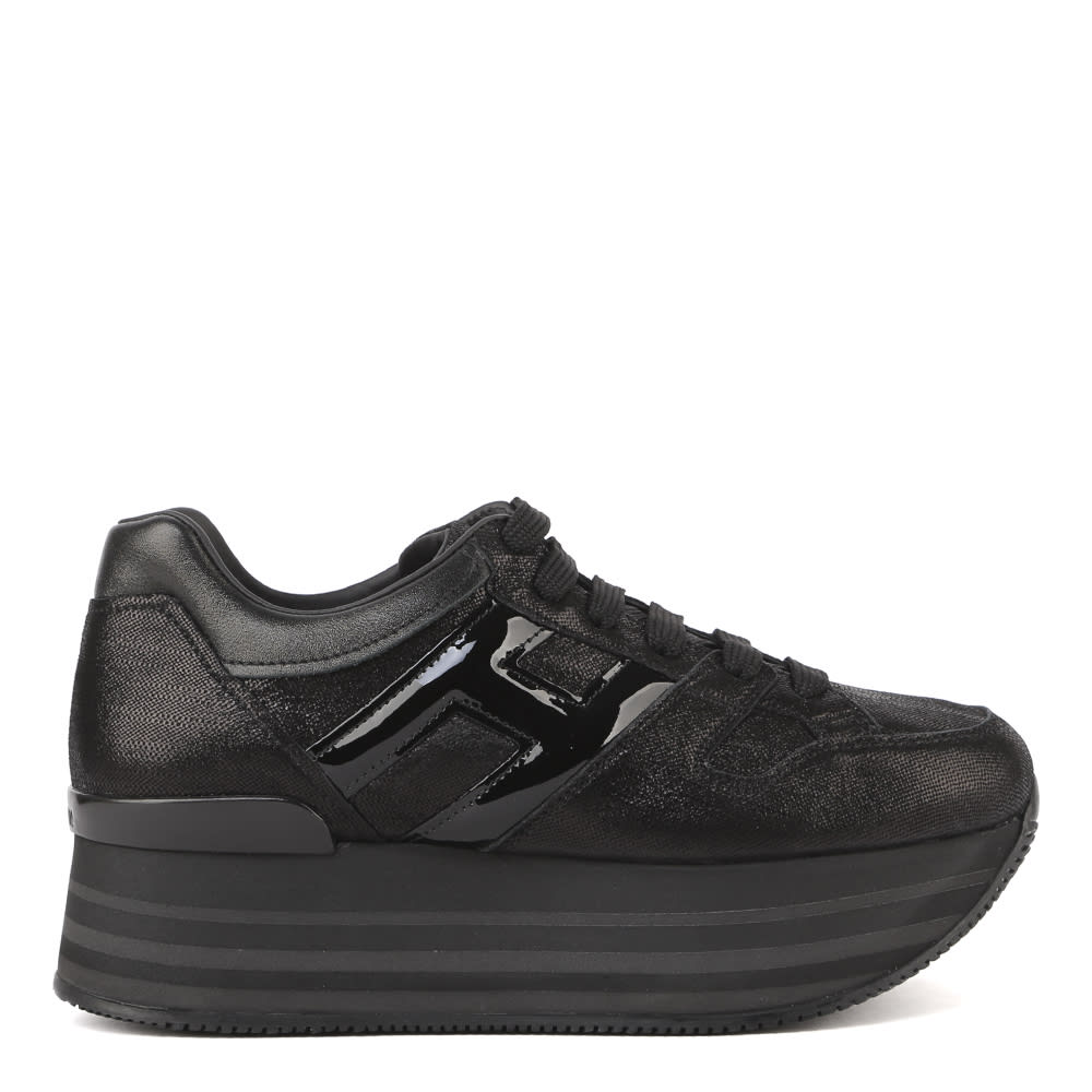 Hogan Maxi H222 Sneakers In Black Textured Leather
