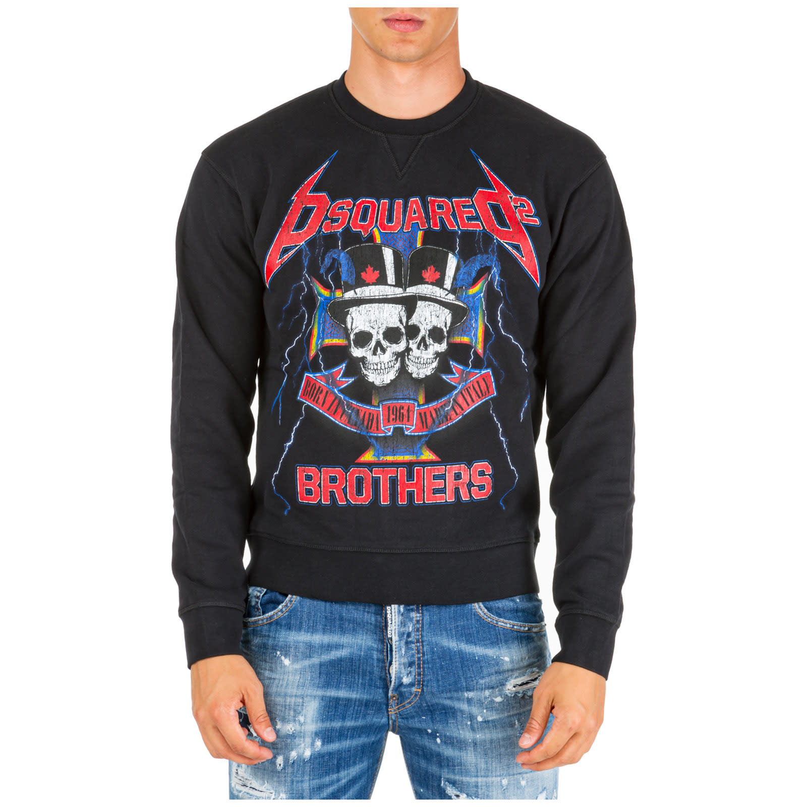 Dsquared2 Skull Brothers Sweatshirt In Nero