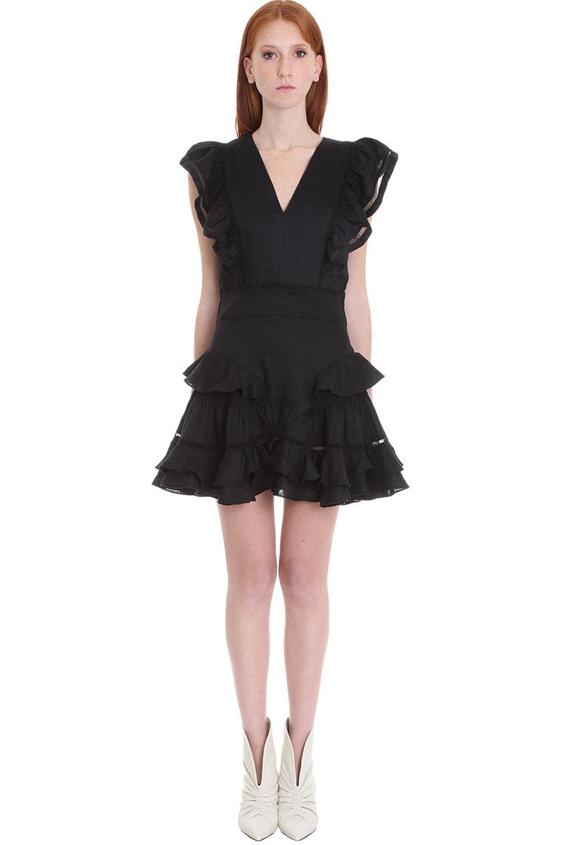 Buy Isabel Marant Étoile Audrey Dress In Black Cotton And Linen online, shop Isabel Marant Étoile with free shipping