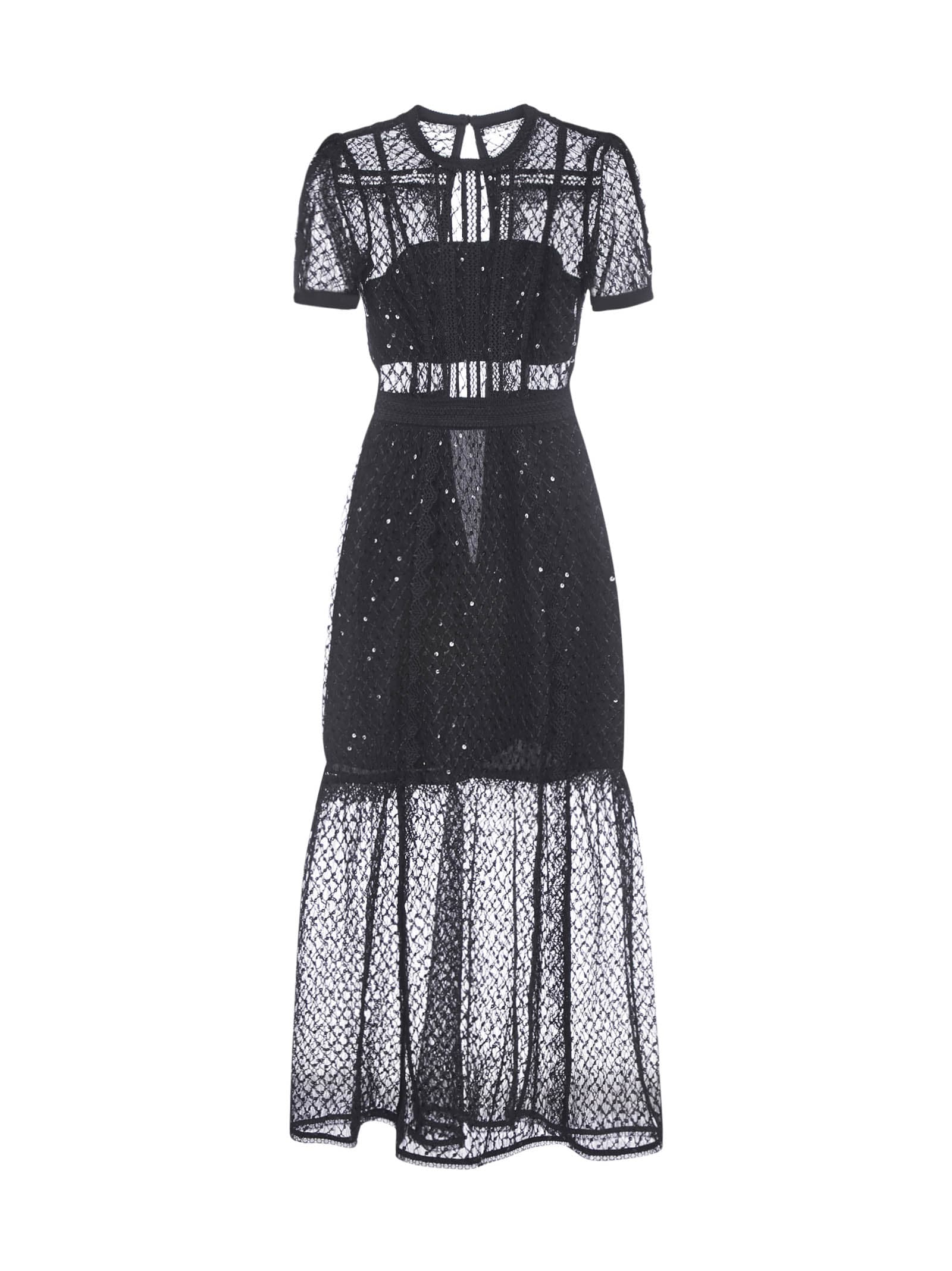Buy self-portrait Sequin Mesh Puff Sleeve Dress online, shop self-portrait with free shipping