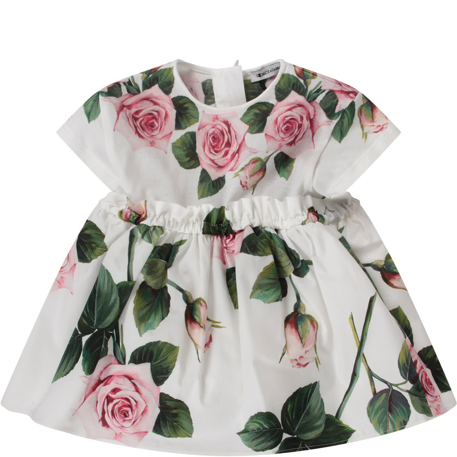 Buy Dolce & Gabbana White Babygirl Dress With Pink Roses online, shop Dolce & Gabbana with free shipping