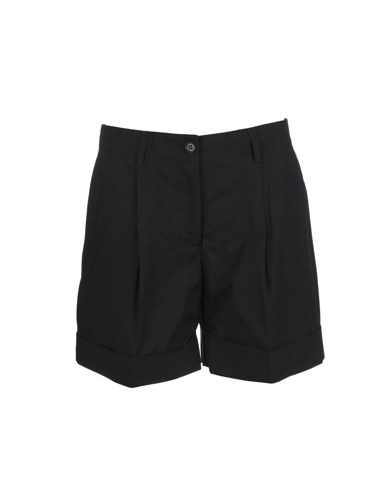 A.R.O.H. shorts in black cotton with medium waist, front pleat, side america pockets, flap with zip and button, belt loops, cuffed bottom, mid-thigh length and soft fit. Composition: 100% Cotton