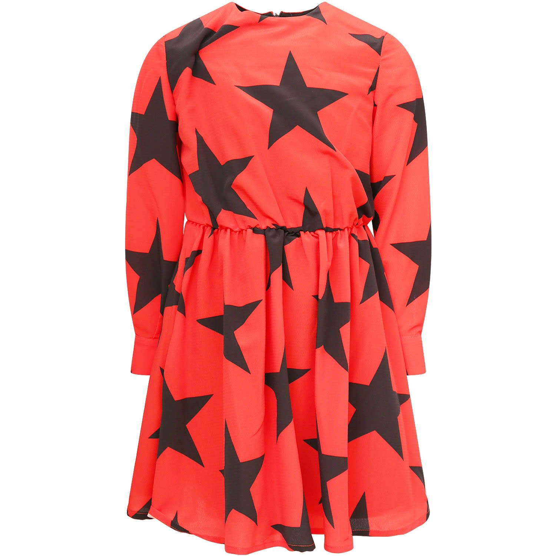 MSGM Red Girl Dress With Black Stars