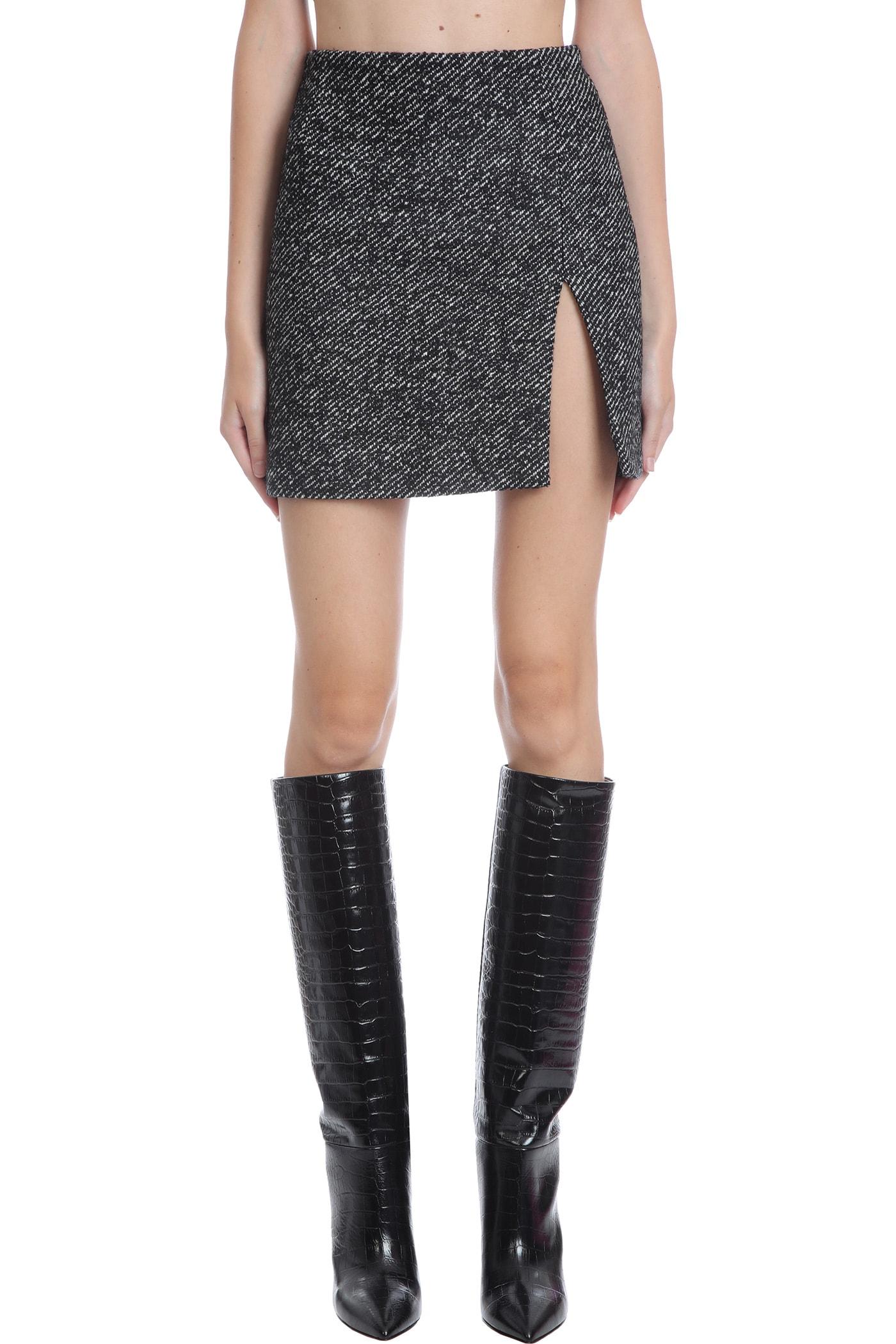 Gioia Splitted Skirt In Black Wool