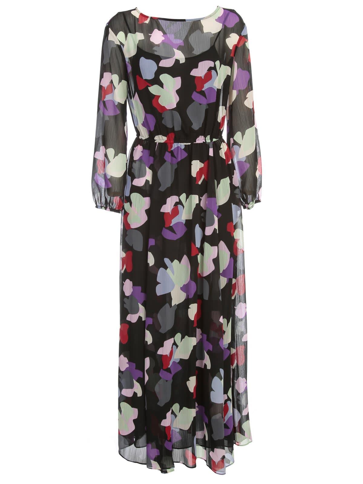 Buy Emporio Armani Maxi Dress L/s Slits On Waist Fantasy online, shop Emporio Armani with free shipping