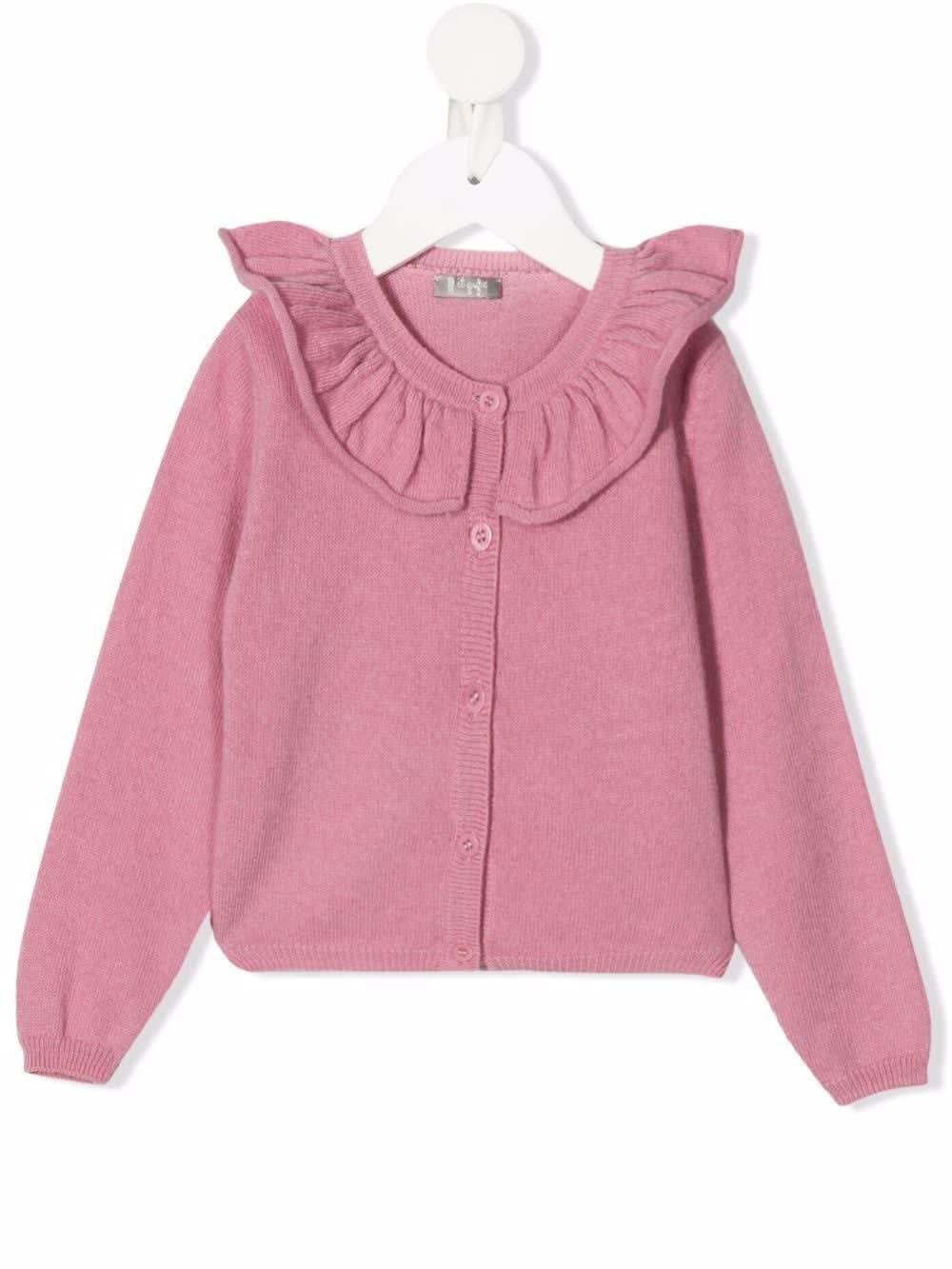 Kids Pink Wool Cardigan With Maxi Ruffles