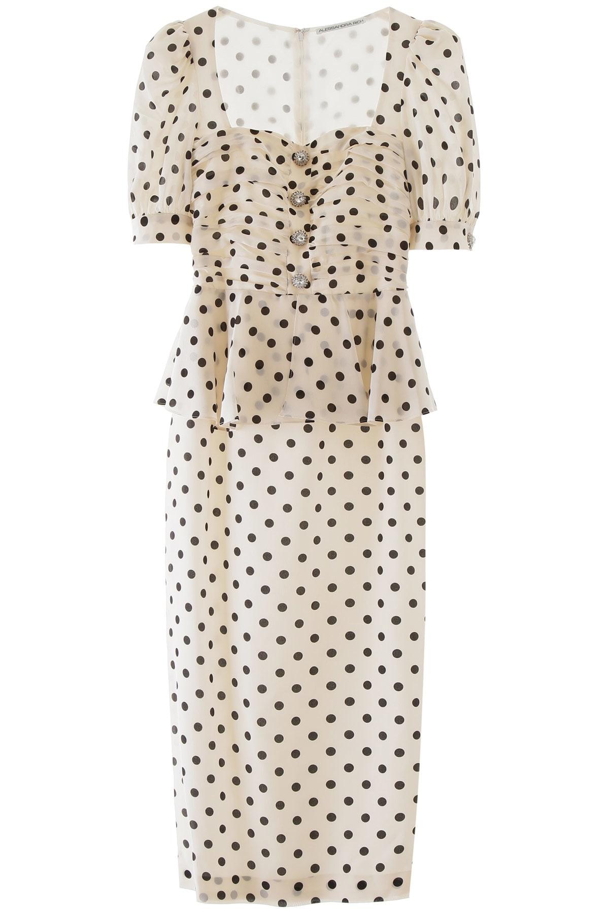 Buy Alessandra Rich Polka Dot Midi Dress online, shop Alessandra Rich with free shipping