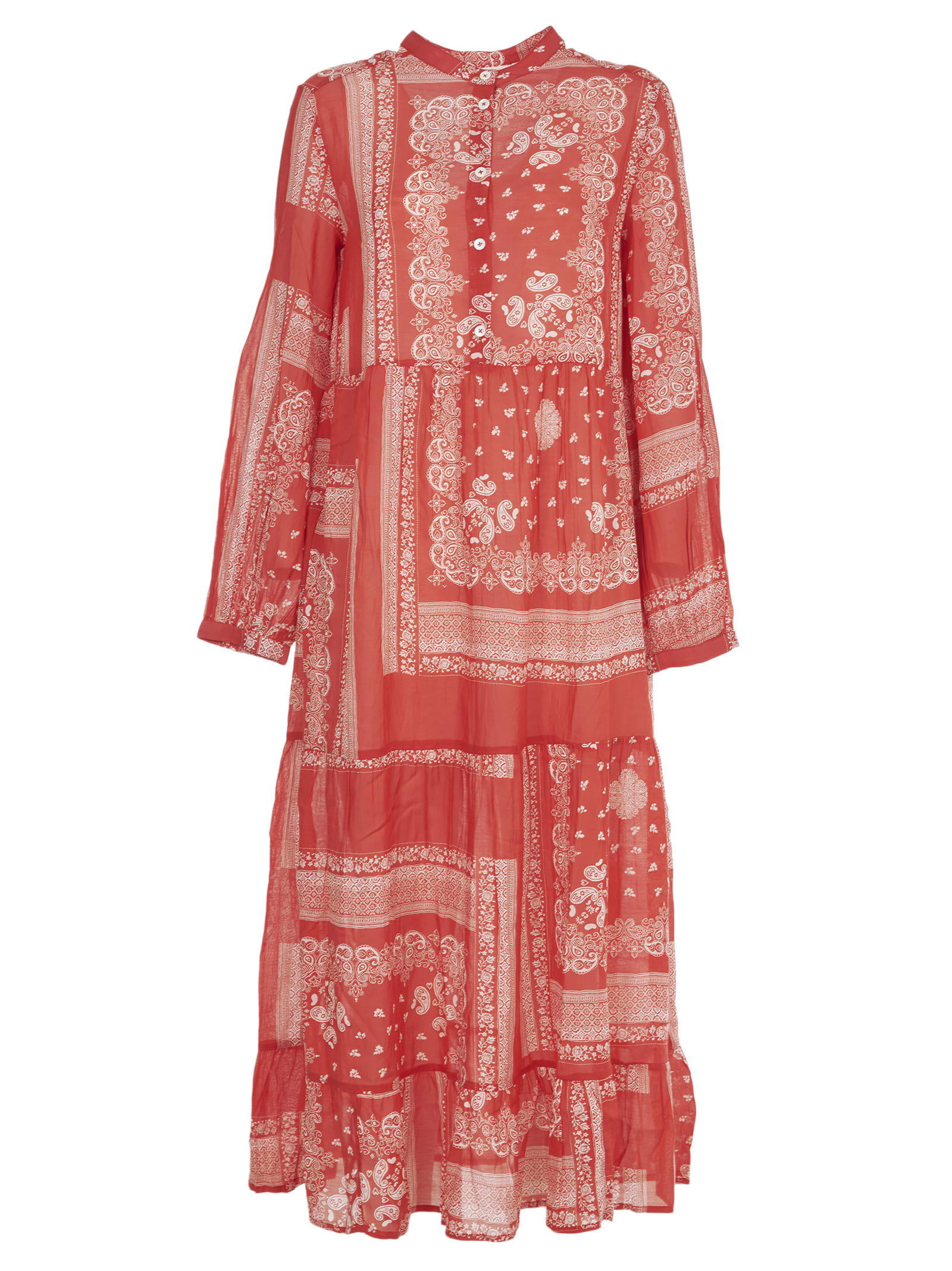 Buy SEMICOUTURE Red And White Muslin Maxi Dress online, shop SEMICOUTURE with free shipping