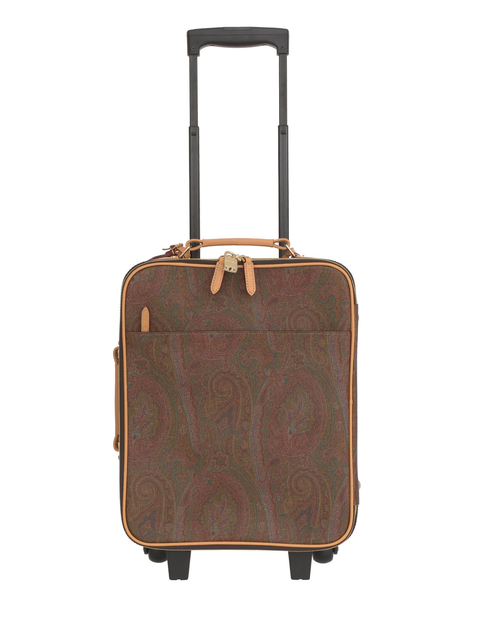 Etro designs the trolley in coated cotton with multicolor paisley print. Practical details, such as the two wheels and the telescopic cane, are added to the glamorous ones, like the leather handles and finishes. The lined interior, with a zippered pocket, completes the travel bag that follows you in far lands and exotic explorations. Double-slider zip closure and padlock External and internal zippered pockets Telescopic cane, two wheels Side and top handle, leather tag Paisley print, burgundy ca