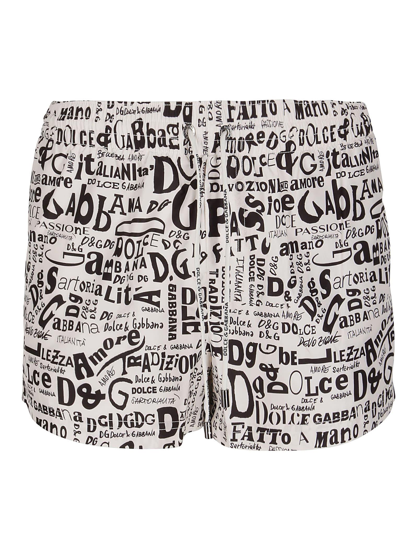 Dolce & Gabbana White And Black Swimming Shorts