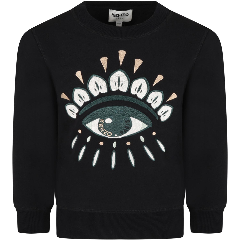 Black Sweatshirt For Kids With Iconic Eye