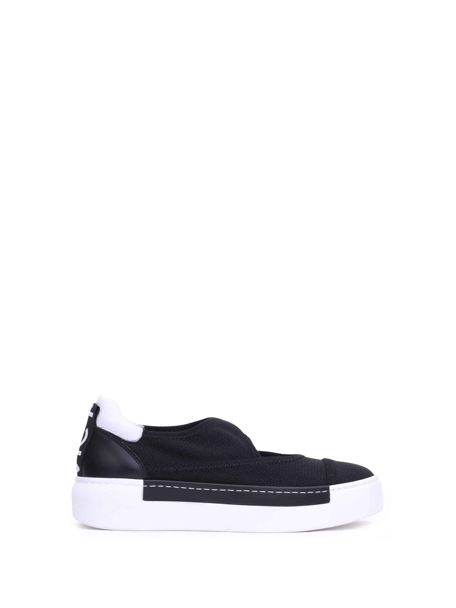 Vic Matie BLACK MESH SLIP-ONS WITH CUT OUT