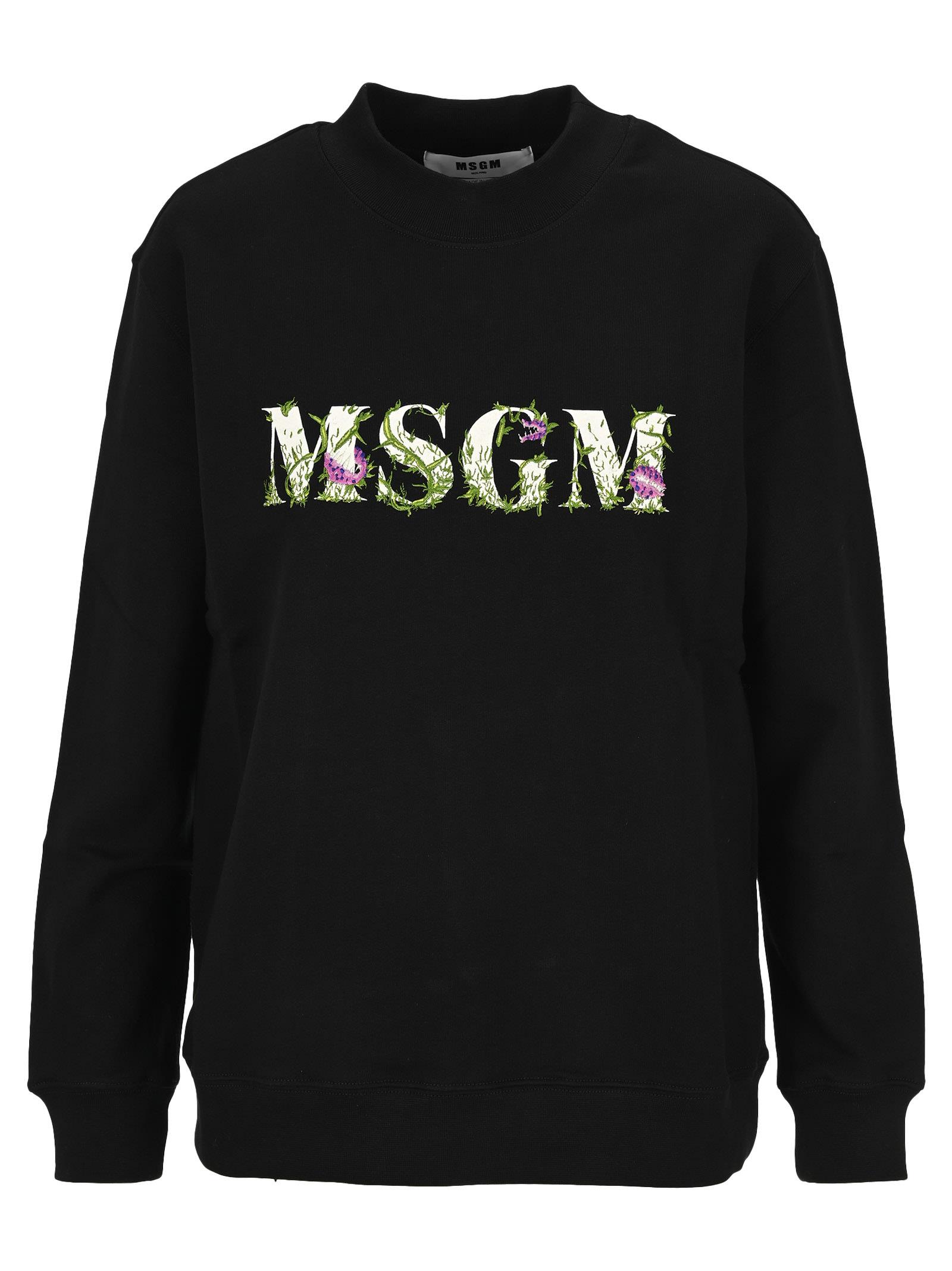Msgm Floral Logo Sweatshirt